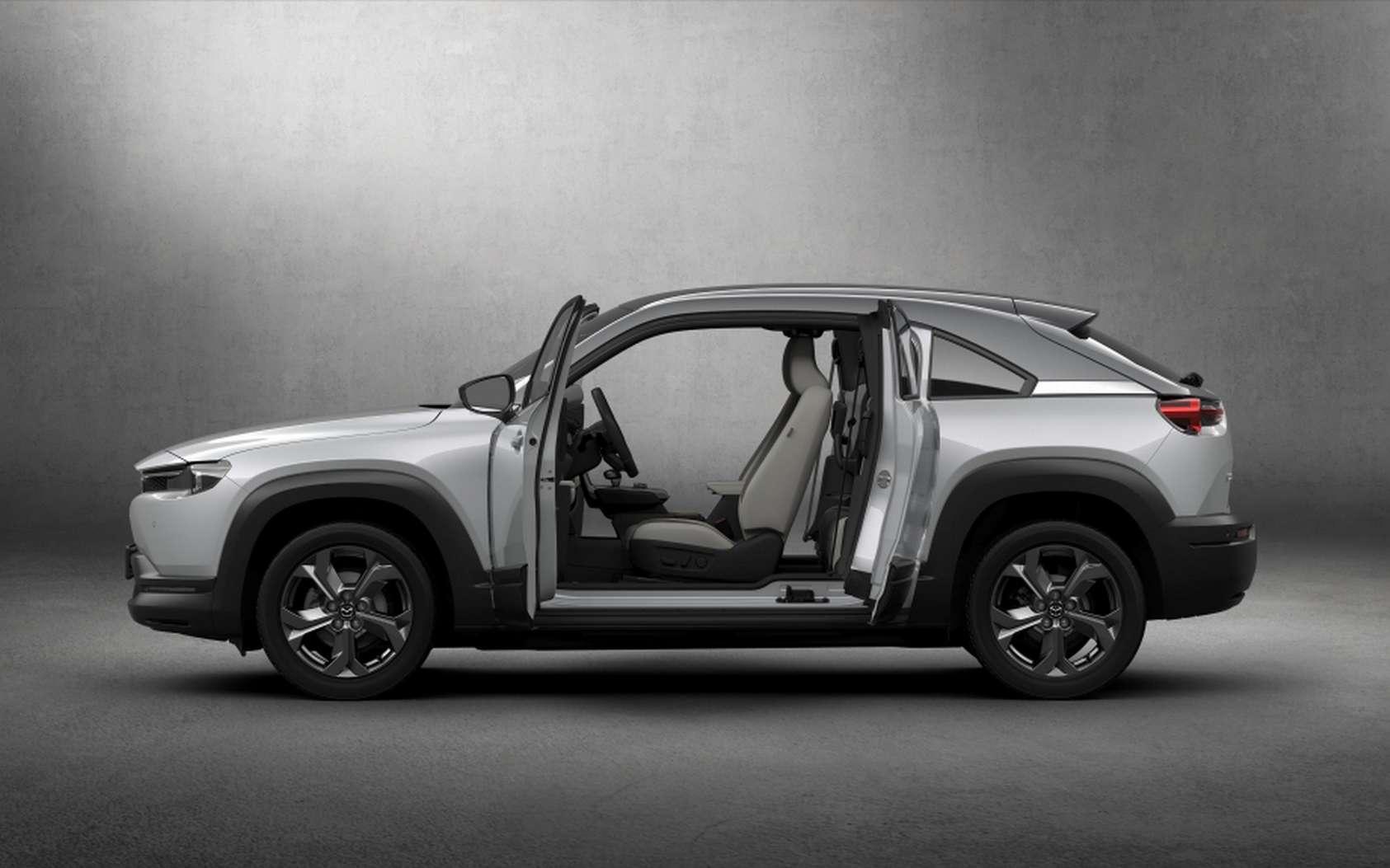 Le système de portes de antagonistes du Mazda MX-30 s'ouvrent à 82 degrés à l'avant et 80 degrés à l'arrière. © Mazda