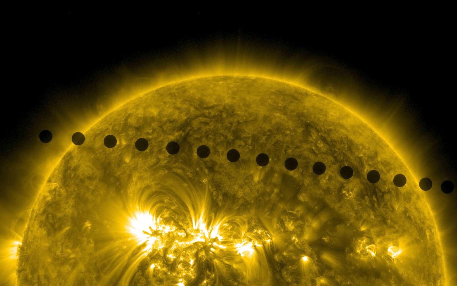 Le 5 et 6 juin 2012, Vénus passait devant le Soleil. Le satellite SDO a suivi ce rare événement, qui ne se reproduira pas avant un siècle. © Nasa, SDO, AIA