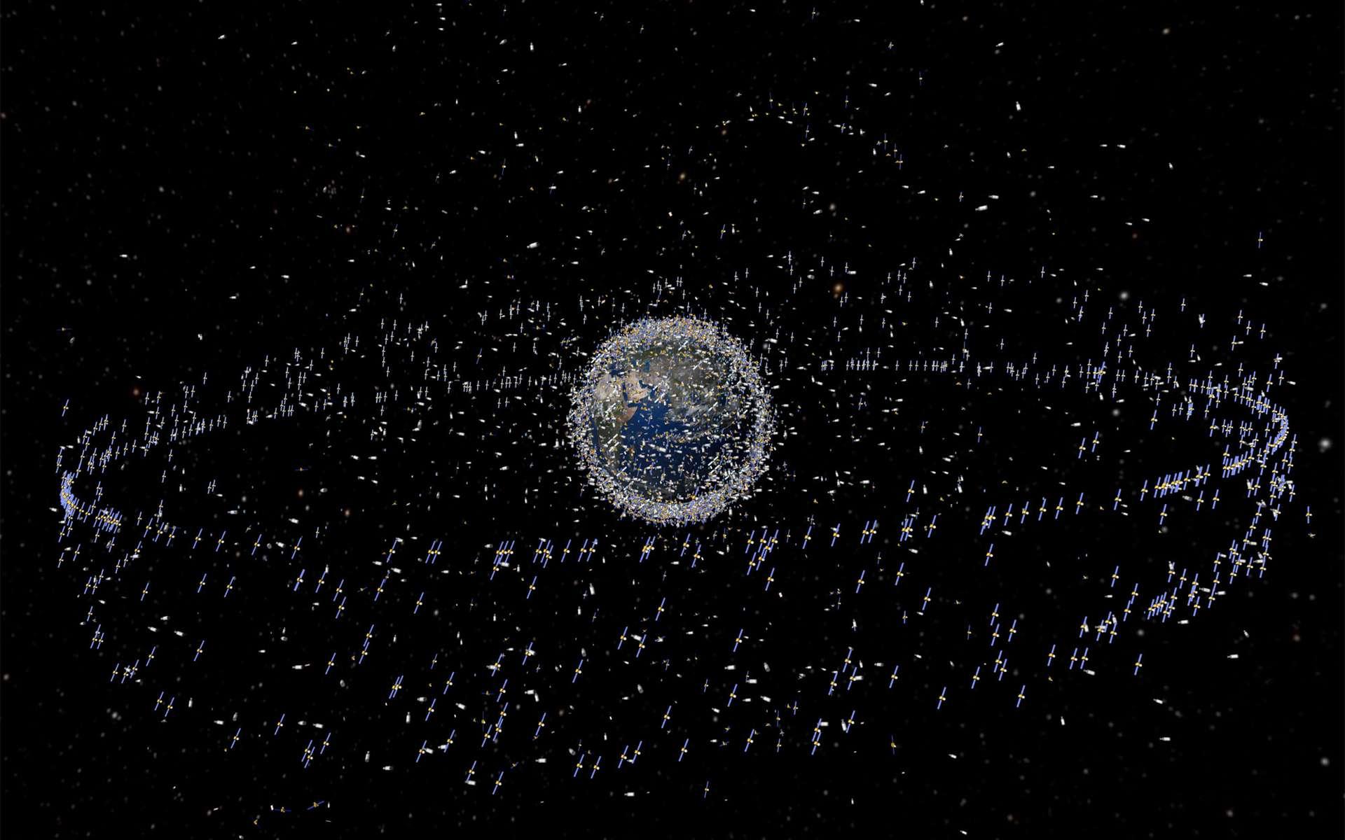 Vue d'artiste des satellites présents autour de la Terre, jusqu'à 36.000 kilomètres d'altitude. © Esa