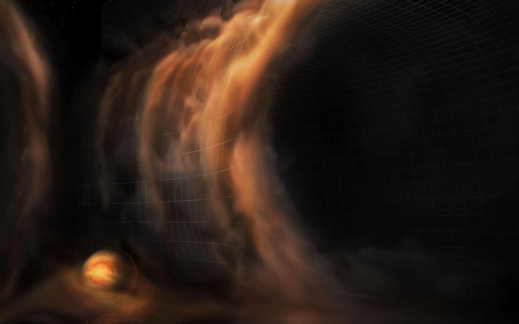 Une vue d'artiste des cascades de gaz observées par des chercheurs de l'université du Michigan (États-Unis) dans des espaces libres probablement formés par des planètes naissantes. © S. Dagnello, NRAO/AUI/NSF