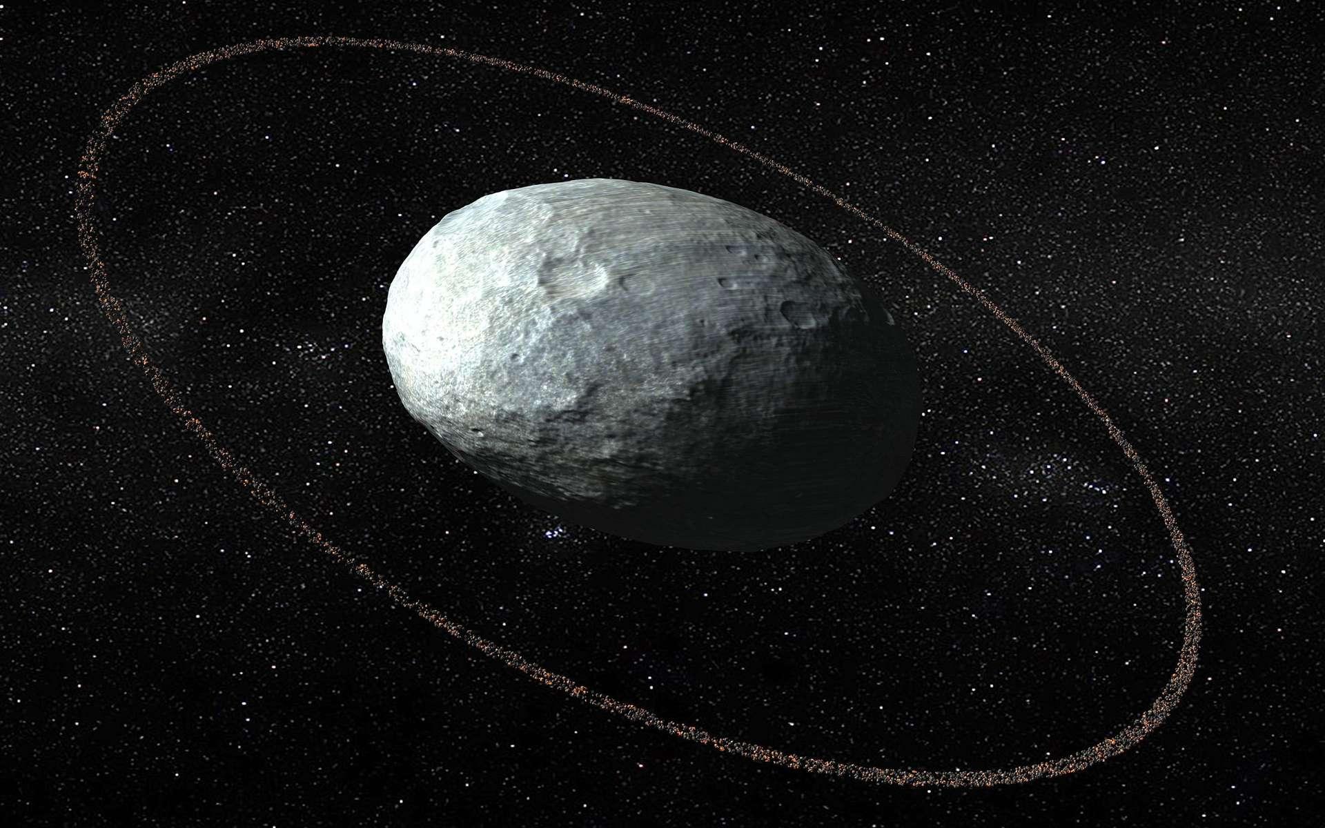 Illustration de la planète naine (136108) Haumea. En 2017, des chercheurs découvrirent l'existence d'un anneau autour de l'astre. © IAA-CSIC, UHU