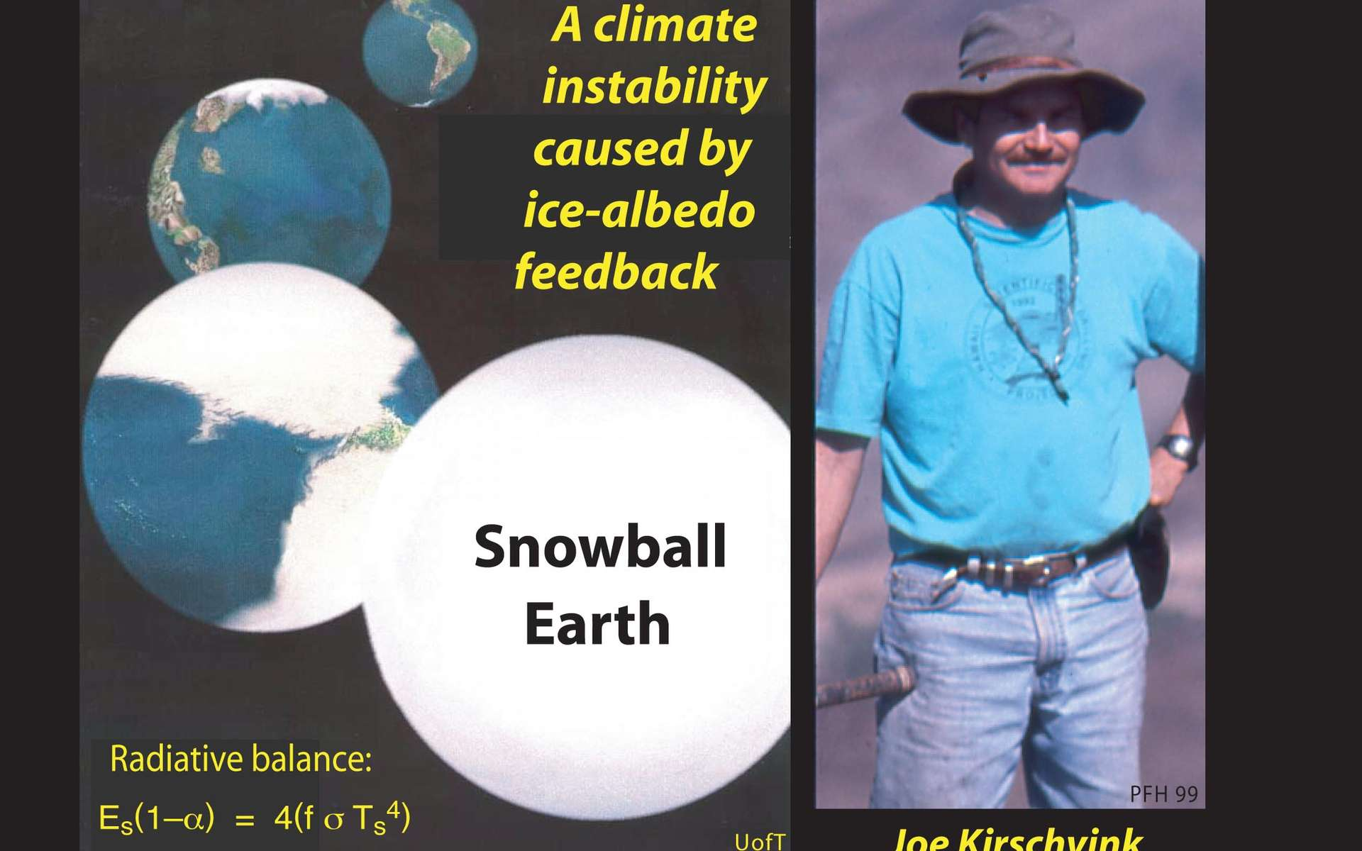 L'évolution possible de la Terre vers une glaciation totale selon la théorie de Joe Kirschvink (à droite). Crédit : www.snowballearth.org