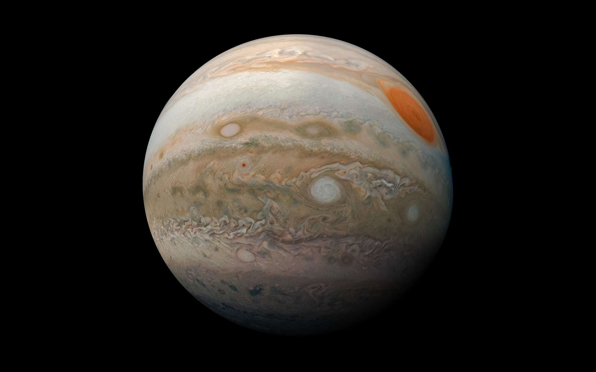 Jupiter photographiée par la sonde Juno. © Nasa, JPL-Caltech, SwRI, MSSS, Kevin M. Gill