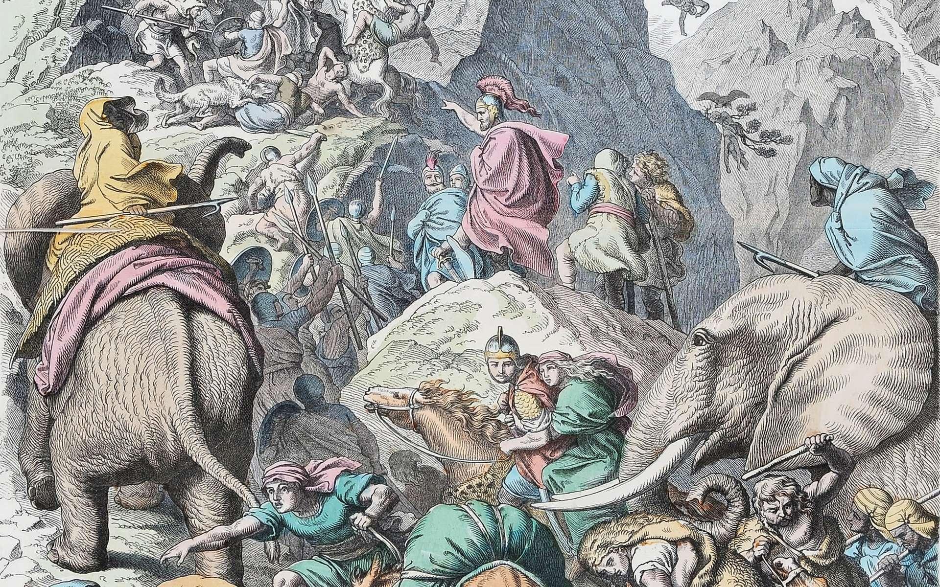 Illustration de la deuxième guerre punique : Hannibal et son armée d'éléphants traversent les Alpes. Dessin de Gottlob Heinrich Leutemann datant de 1866. © Heinrich Leutemann, Wikimedia Commons, DP
