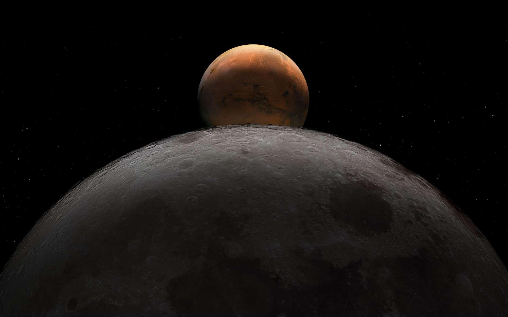 De la Lune à Mars. Le pari du programme Artemis de retour sur la Lune sur lequel compte s'appuyer la Nasa pour envoyer des humains sur Mars. © Nasa