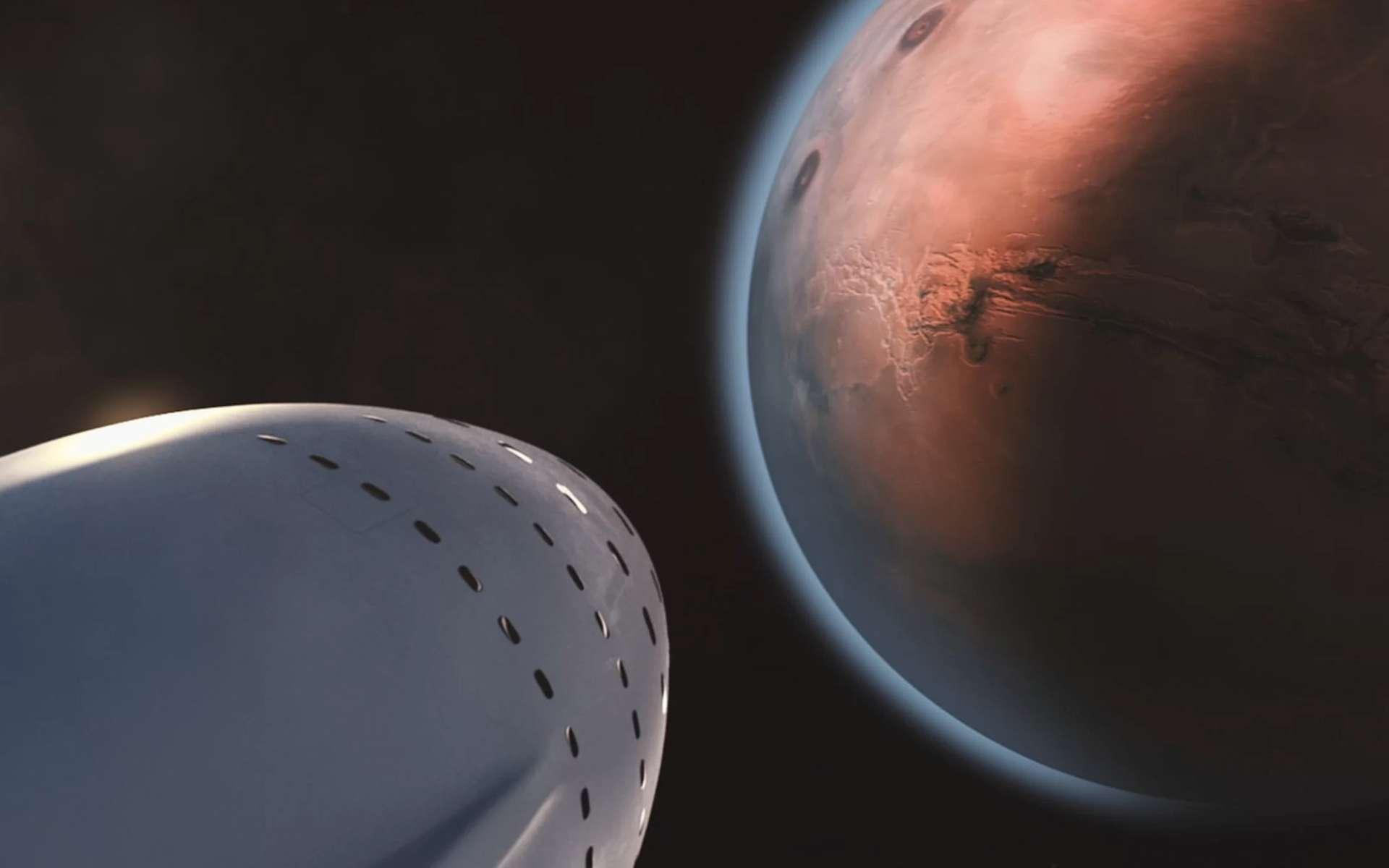 Elon Musk part à la conquête de Mars. Il a livré les détails de son projet de colonisation. Ici, image extraite de la vidéo présentée par Elon Musk : une navette et son équipage de 100 personnes sont en vue de la Planète rouge. © SpaceX