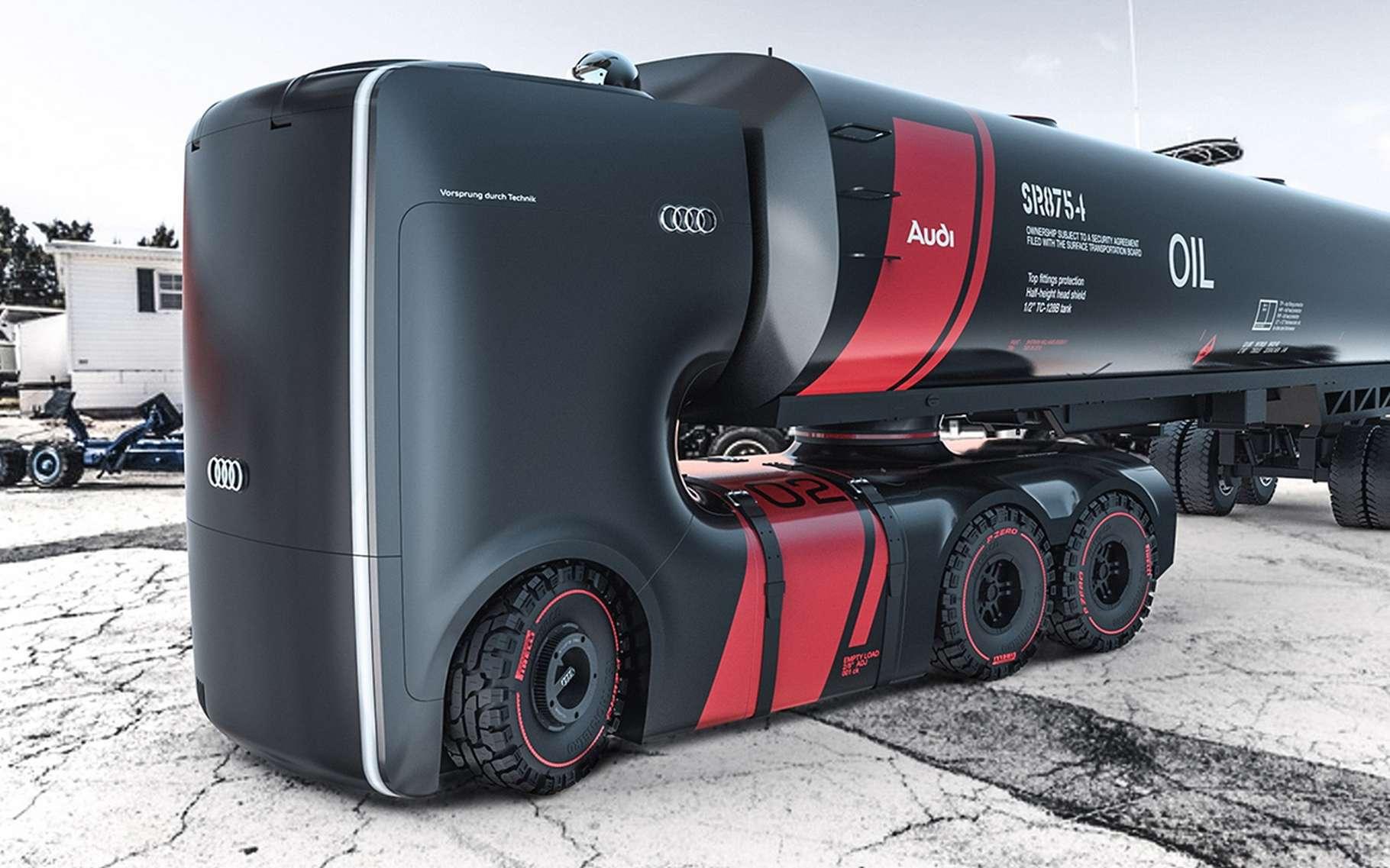Ce camion Audi imaginé par deux designers semble tout droit sorti d'un épisode de Star Wars ! © Artem Smirnov et Vladimir Panchenko