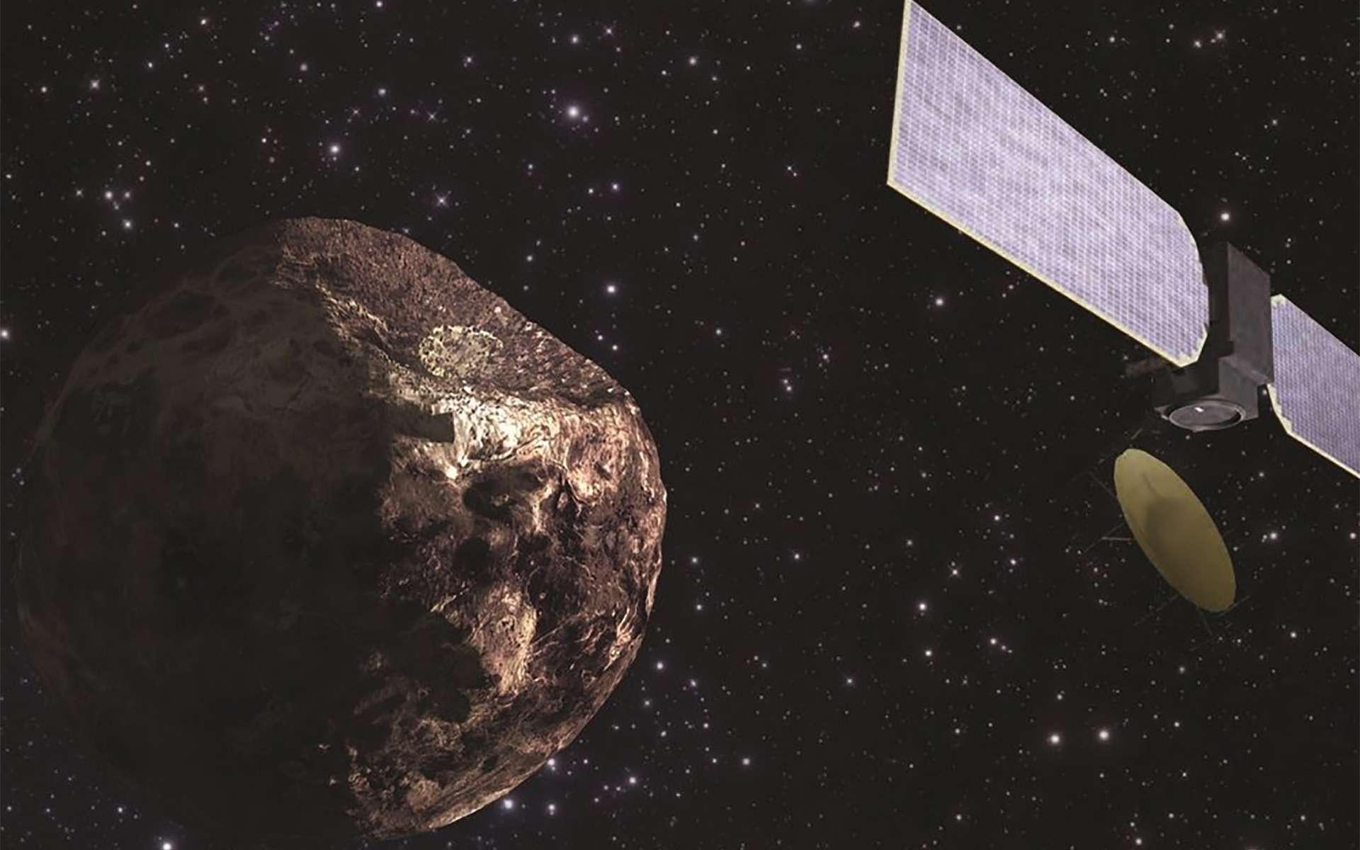 Vue d'artiste d'une sonde arrivant à proximité de la protoplanète Pallas. © B.E. Schmidt & S. C. Radcliffe