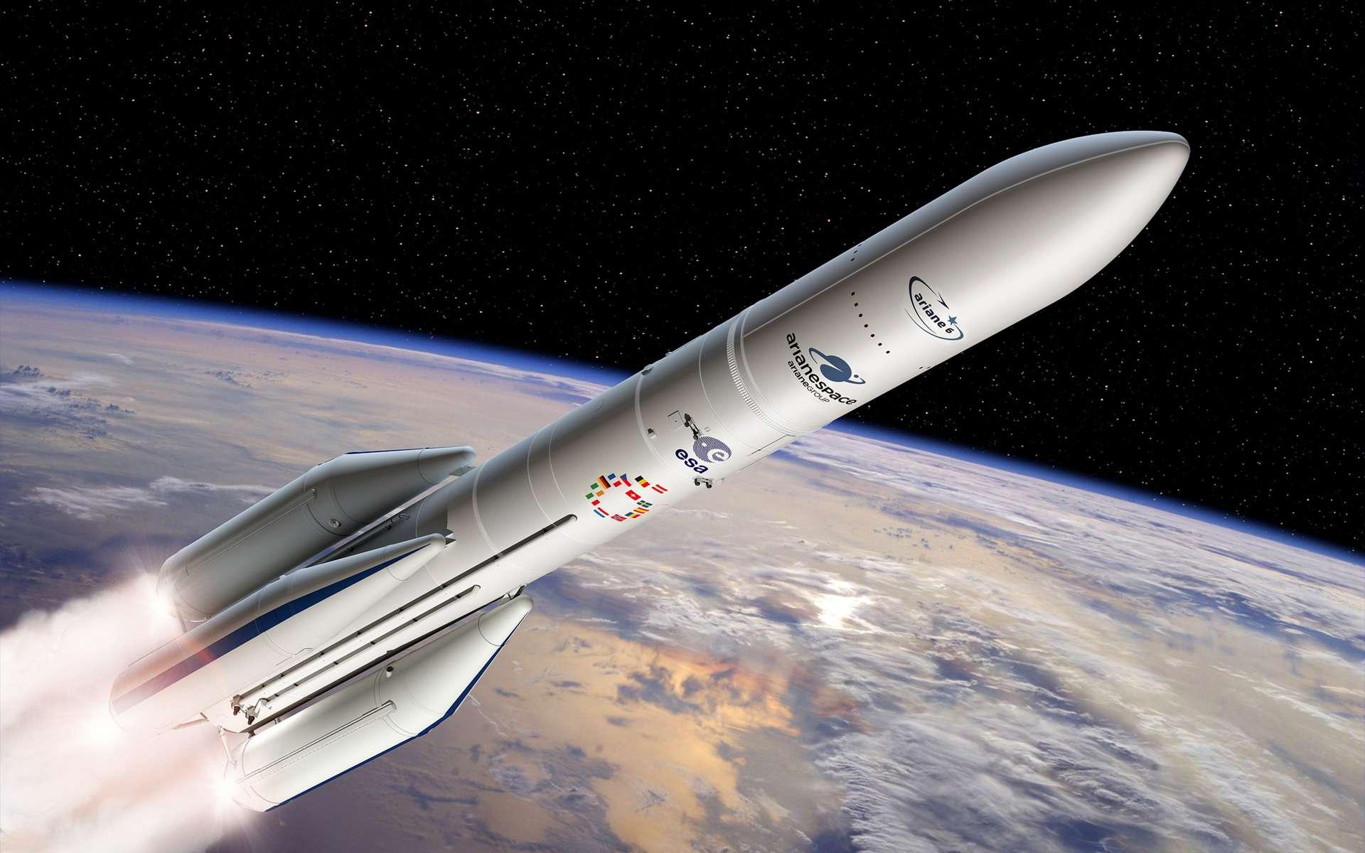 Ariane 6 existera en deux versions qui se différencieront notamment par le nombre de boosters. Deux pour la version 62, et quatre pour la version 64 qui pourra lancer deux satellites, comme Ariane 5. © ESA, D. Ducros