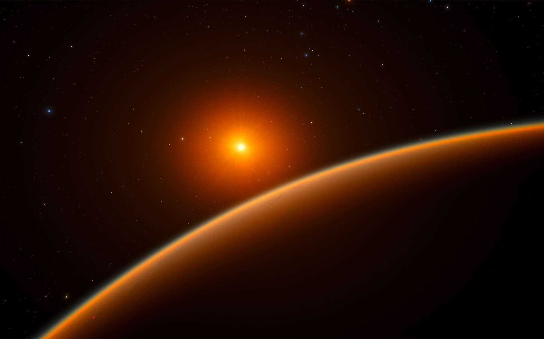 Découverte avec l'instrument Harps, de l'ESO, au Chili, l'exoplanète LHS 1140b est la meilleure planète candidate pour la recherche de traces de vie au-delà du Système solaire. © ESO
