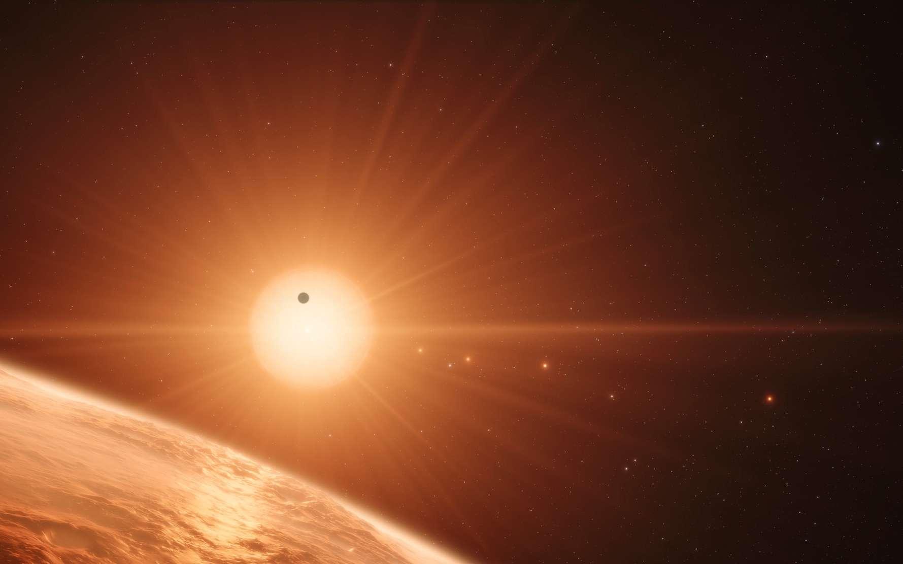Illustration du système planètaire Trappist-1. © ESO, N. Bartmann, spaceengine.org