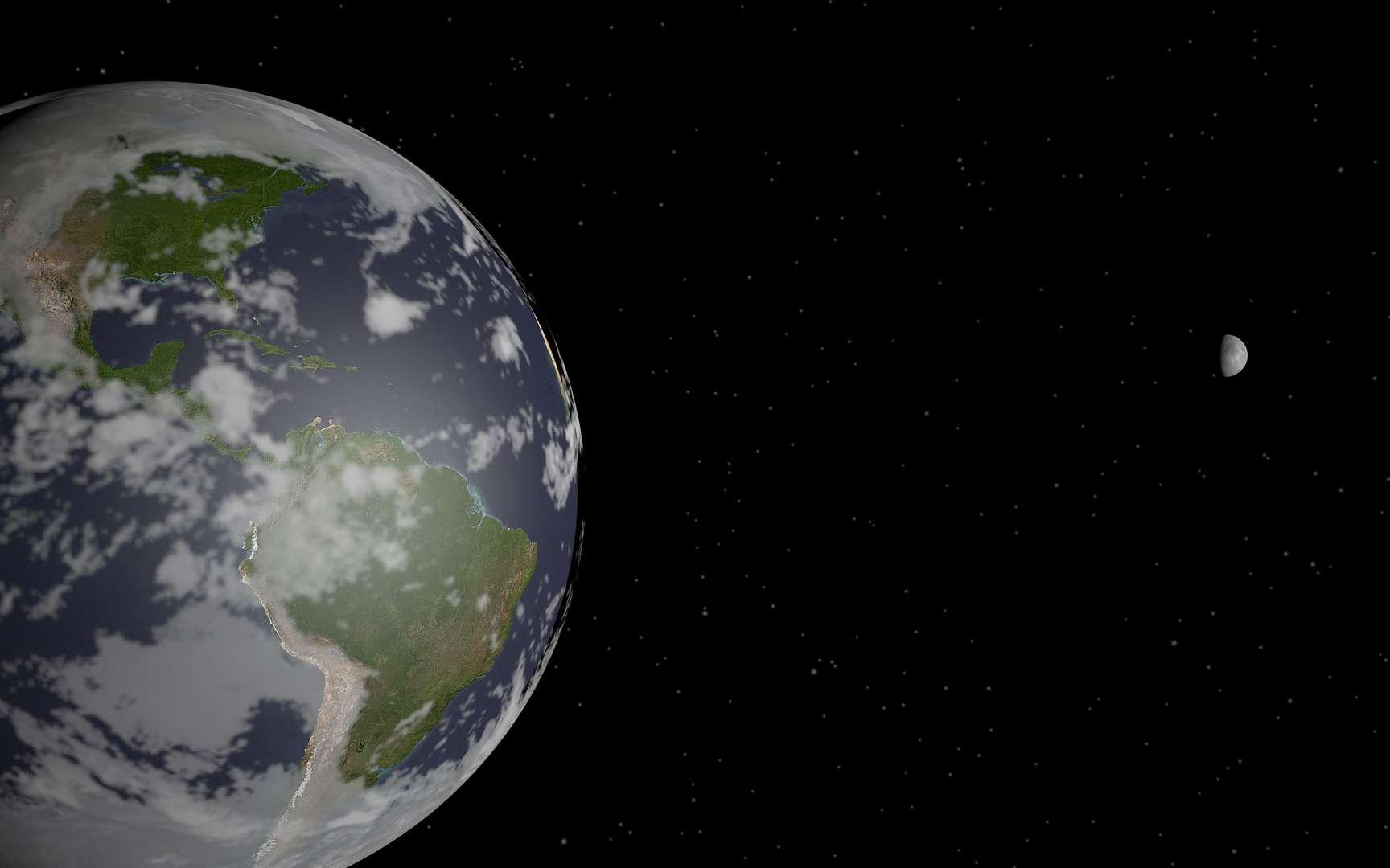 La période de révolution de la Lune autour de la Terre est d'environ 27 jours. © Celestinia Art & Space, Flickr, CC by-sa 2.0