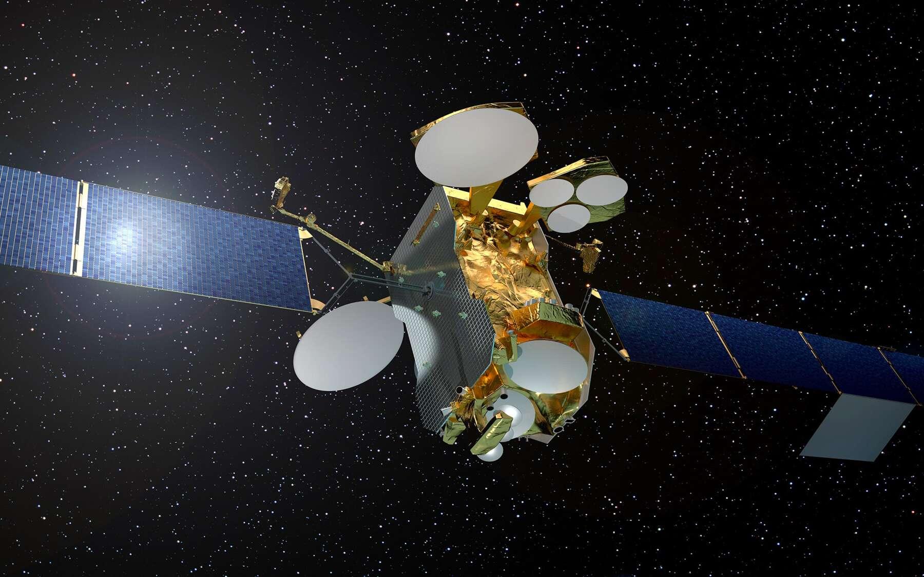 Construit autour de la plateforme Eurostar E3000e, à propulsion entièrement électrique, d'Airbus, le satellite Eutelsat 172B est conçu pour une durée de vie d'au moins 15 ans. Il est le premier satellite à amener l'Internet haut débit à bord des avions. © Airbus Defence and Space