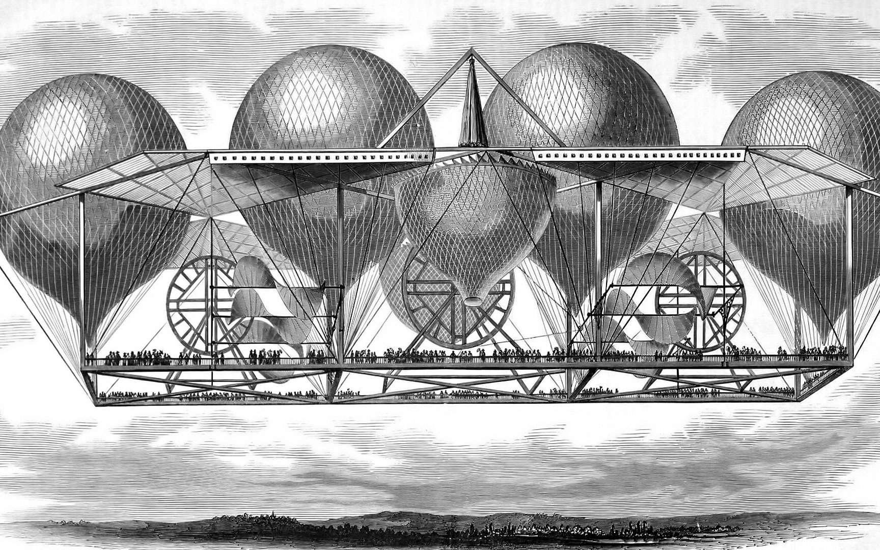 La montgolfière familiale. Dans les années 1900, certaines personnes avaient imaginé des engins volants de différentes tailles (un peu comme le principe des voitures berlines familiales d'aujourd'hui) largement calqués sur les montgolfières. En effet, un peu plus d'un siècle plus tôt, les frères Montgolfier (Joseph-Michel et Jacques-Étienne) avaient fait voler le premier ballon gonflé d'air chaud. Dans l'imaginaire populaire, le ballon était donc l'une des seules formes d'objets volants connues. © Hildebrands
