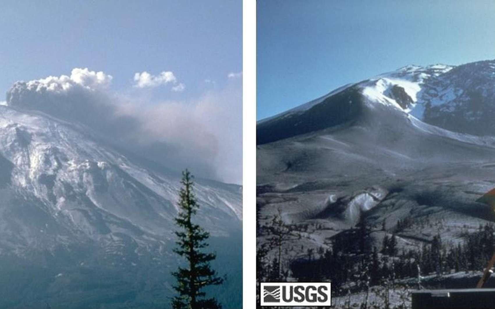 À gauche, le versant sud du mont Saint Helens durant la phase paroxysmale, après l'éruption du 18 mai 1980. À droite, la forêt de North Fork Toutle, dévastée le 22 août 1980. © USGS, Cascades Volcano Observatory