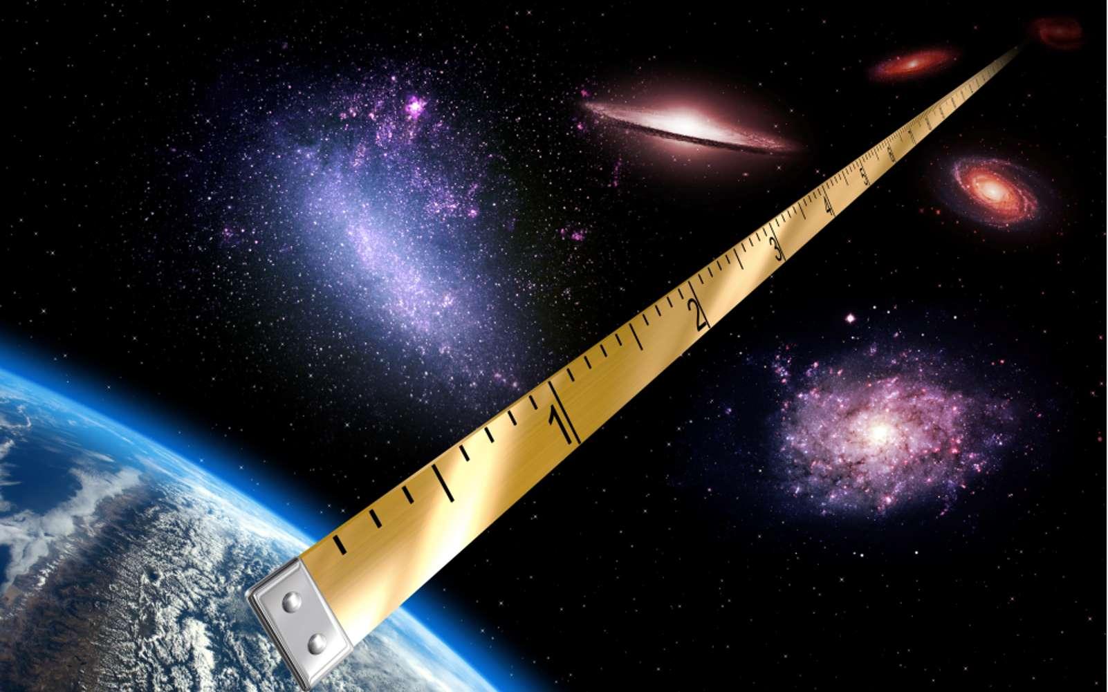 Figure d'artiste. Pour la première fois, l'équipe du projet Araucaria a déterminé la distance du Grand Nuage de Magellan avec une précision de 1 %. Cette précision est comparable par exemple à celle que l'on peut atteindre en mesurant la taille d'une personne à une longueur de cheveu près, à la « simple » différence que dans le cas du GNM, la distance mesurée correspond à 162.000 années-lumière, soit 1,53 milliard de milliards de kilomètres. © CNRS, Insu