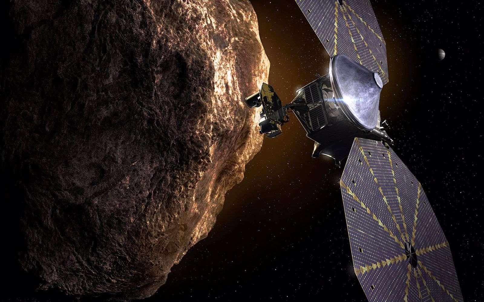 Représentation de la sonde Lucy à proximité d'un astéroïde troyen. © Nasa, Southwest Research Institute