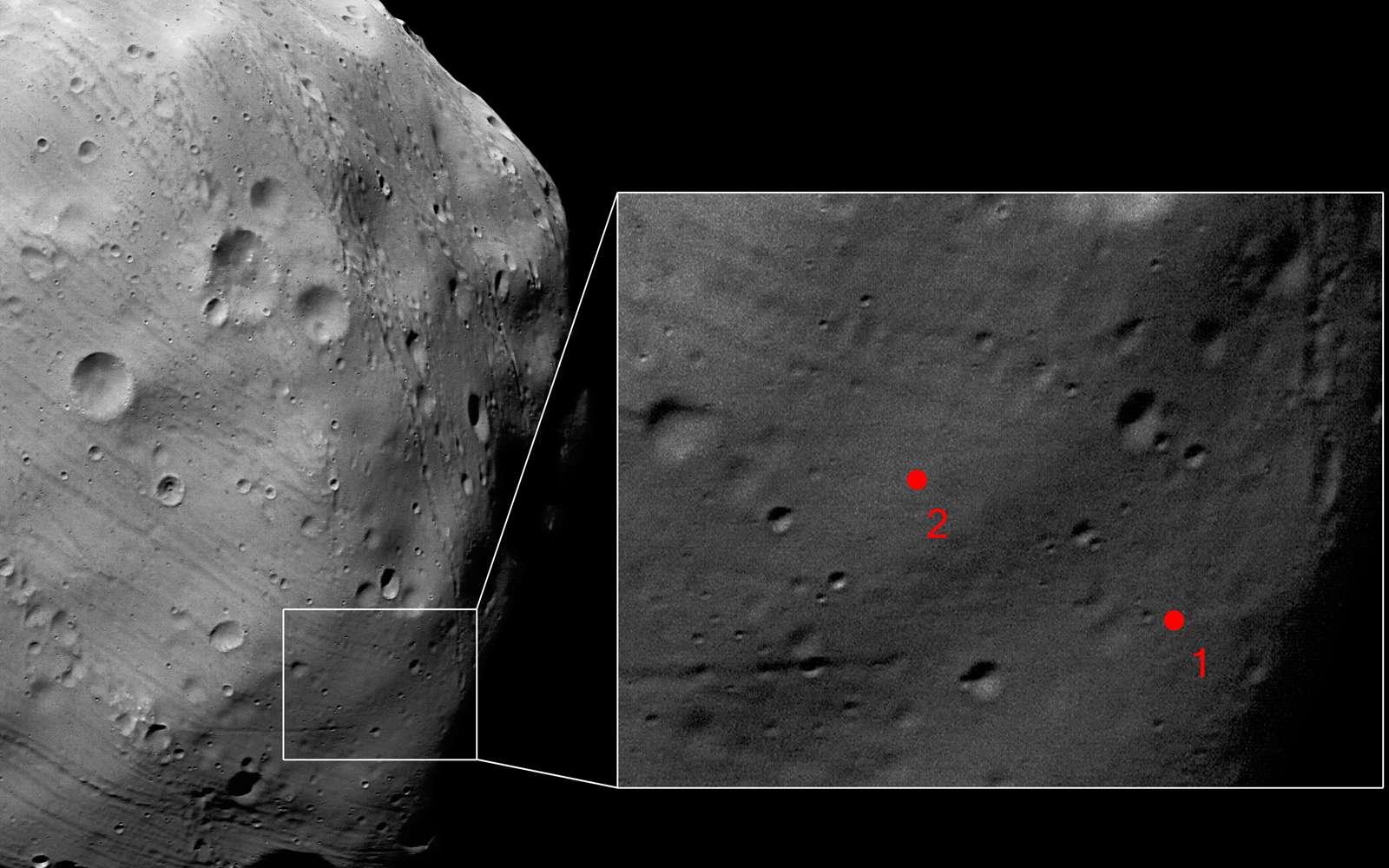 Le 7 mars, Mars Express a photographié avec une résolution de 4,4 mètres par pixel deux des sites envisagés pour l'atterrissage de la sonde russe Phobos-Grunt. Crédits Esa/DLR/FU Berlin (G. Neukum)