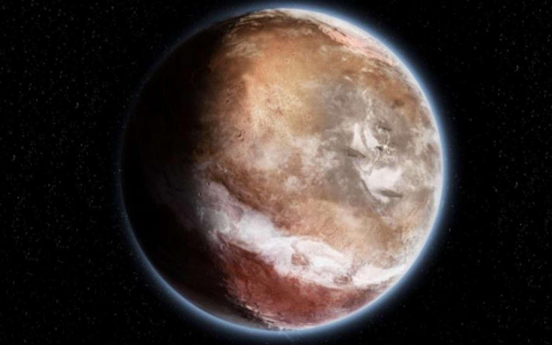 Illustration de Mars, telle qu'elle pouvait être il y a 4 milliards d'années. Une bande nuageuse dans son atmosphère plus dense qu'aujourd'hui se superpose au-dessus de la ceinture tropicale où devaient couler des rivières. Peu à peu, la coquille enrobant le noyau de Mars s'est retrouvée plombée par l'immense dôme de Tharsis qui se constituait au fil de centaines de millions d'années et a commencé à bouger. © Didier Florentz