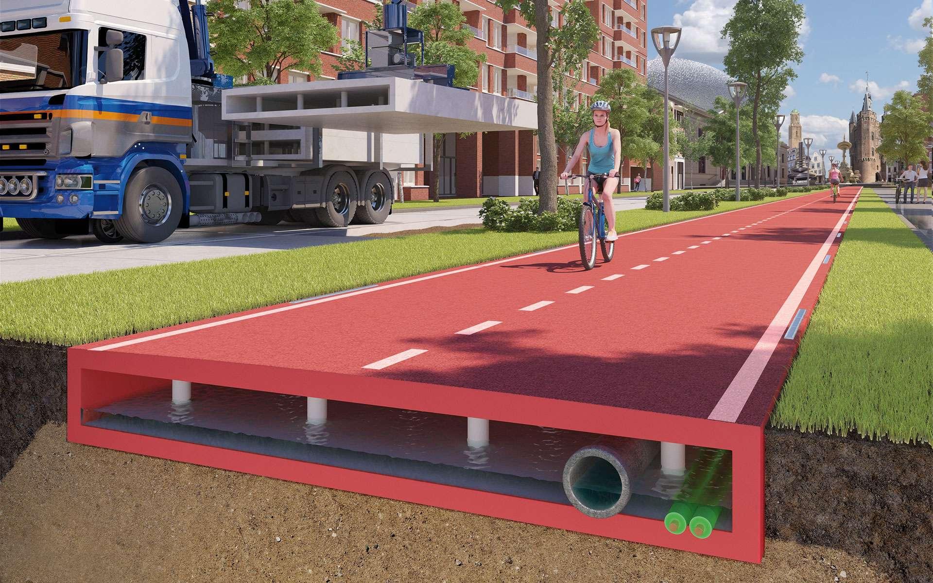 La piste cyclable PlasticRoad est constituée à 70 % de plastique recyclé. © PlasticRoad