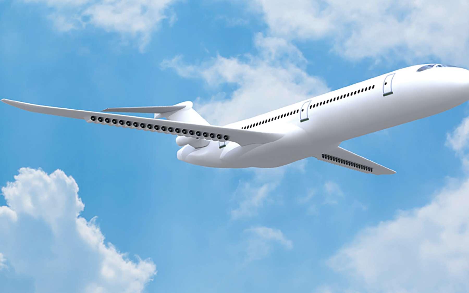 Vue d'artiste du concept Dragon qui permet d'évaluer les avantages et inconvénients de la propulsion distribuée pour un avion de ligne. © Onera