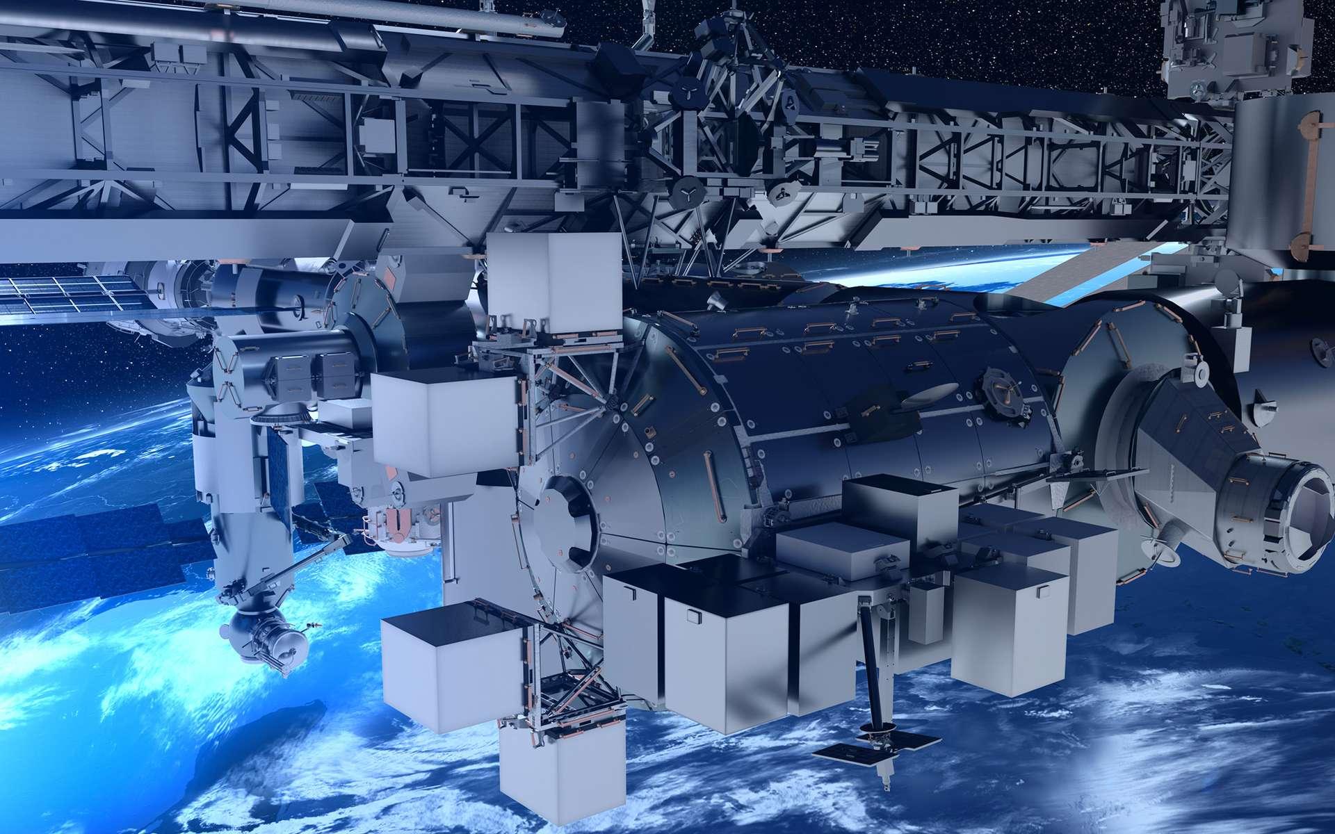Une nouvelle capacité d'hébergement de charges utiles externes, fournie par Airbus, sera fixée au module européen Columbus, de la Station spatiale internationale (ISS), à partir de mi-2019. © Airbus