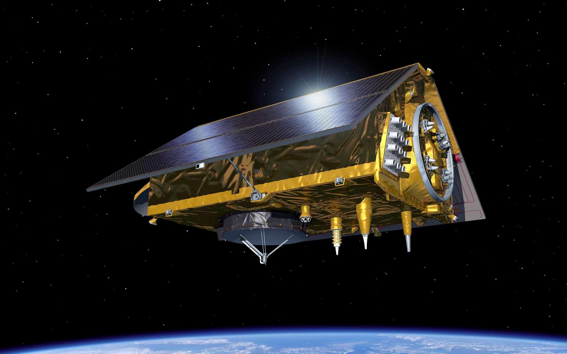 Vue d'artiste d'un satellite Sentinel 6 d'altimétrie spatiale. © ESA, P. Carril