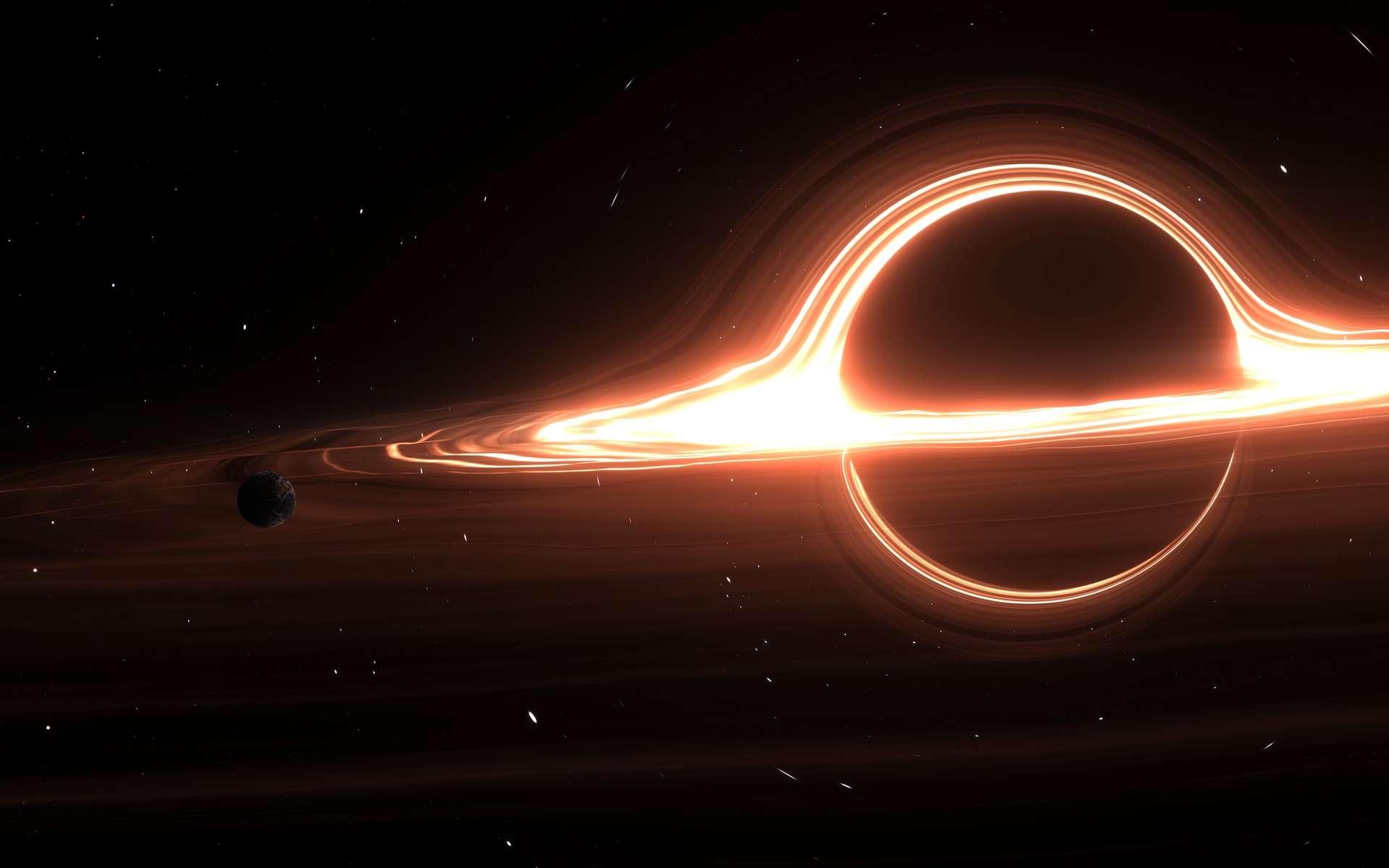 Illustration d'un trou noir supermassif tapi au cœur d'une galaxie. © PatinyaS., Adobe Stock