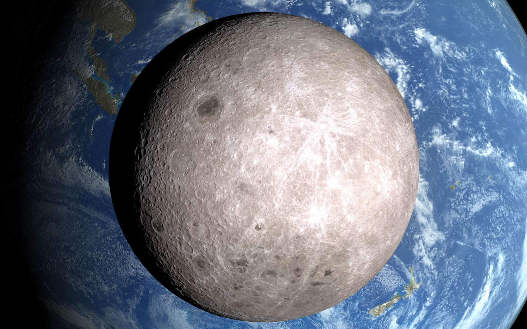La face cachée de la Lune n'a pas encore livré tous ses secrets. Des chercheurs viennent d'y découvrir une anomalie de masse. © Nasa/LRO/Nasa's Goddard Space Flight Center Scientific Visualization Studio