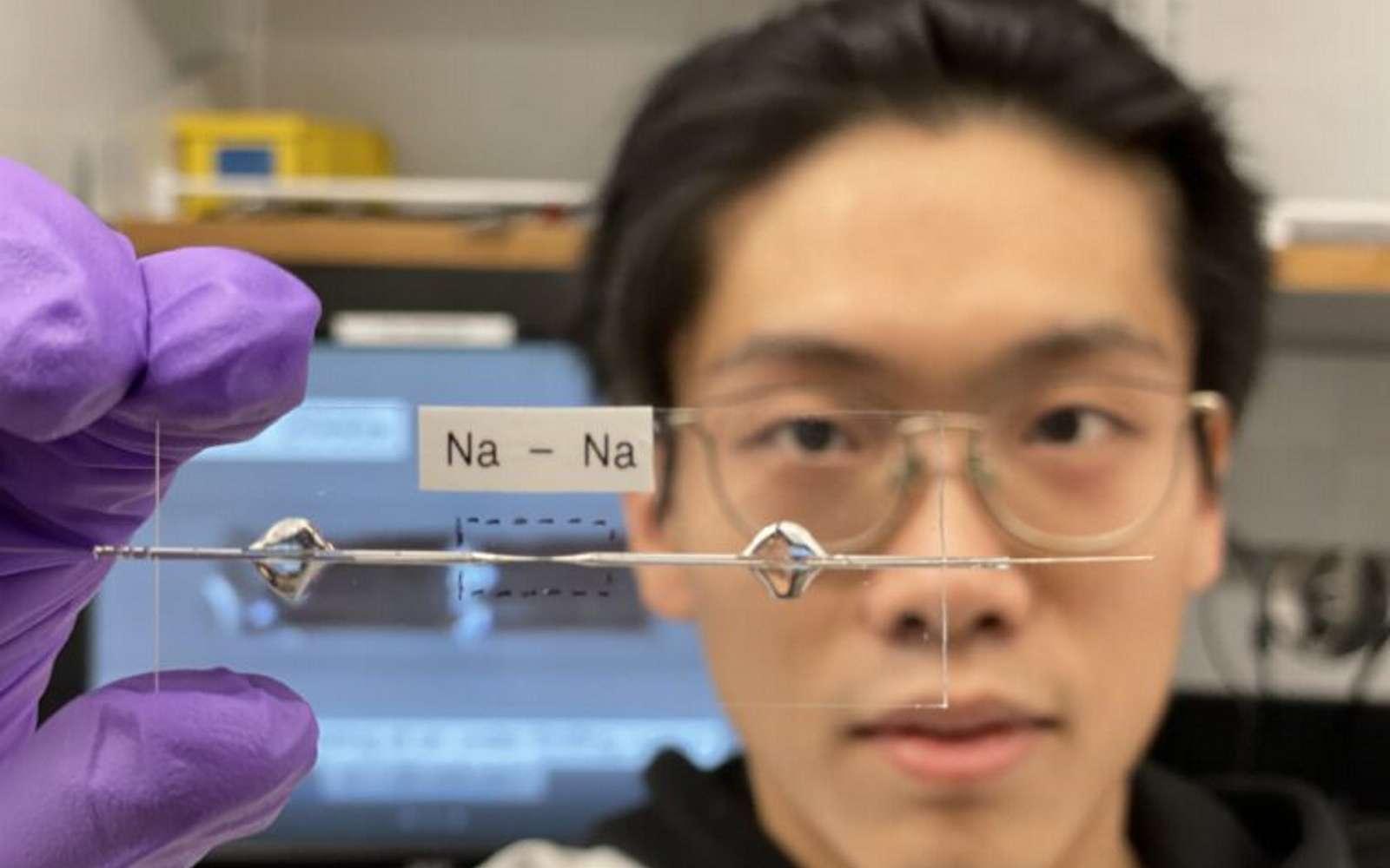 Cette cellule capillaire transparente a permis aux chercheurs de développer une batterie sodium-ion sans anode. © Bai Lab