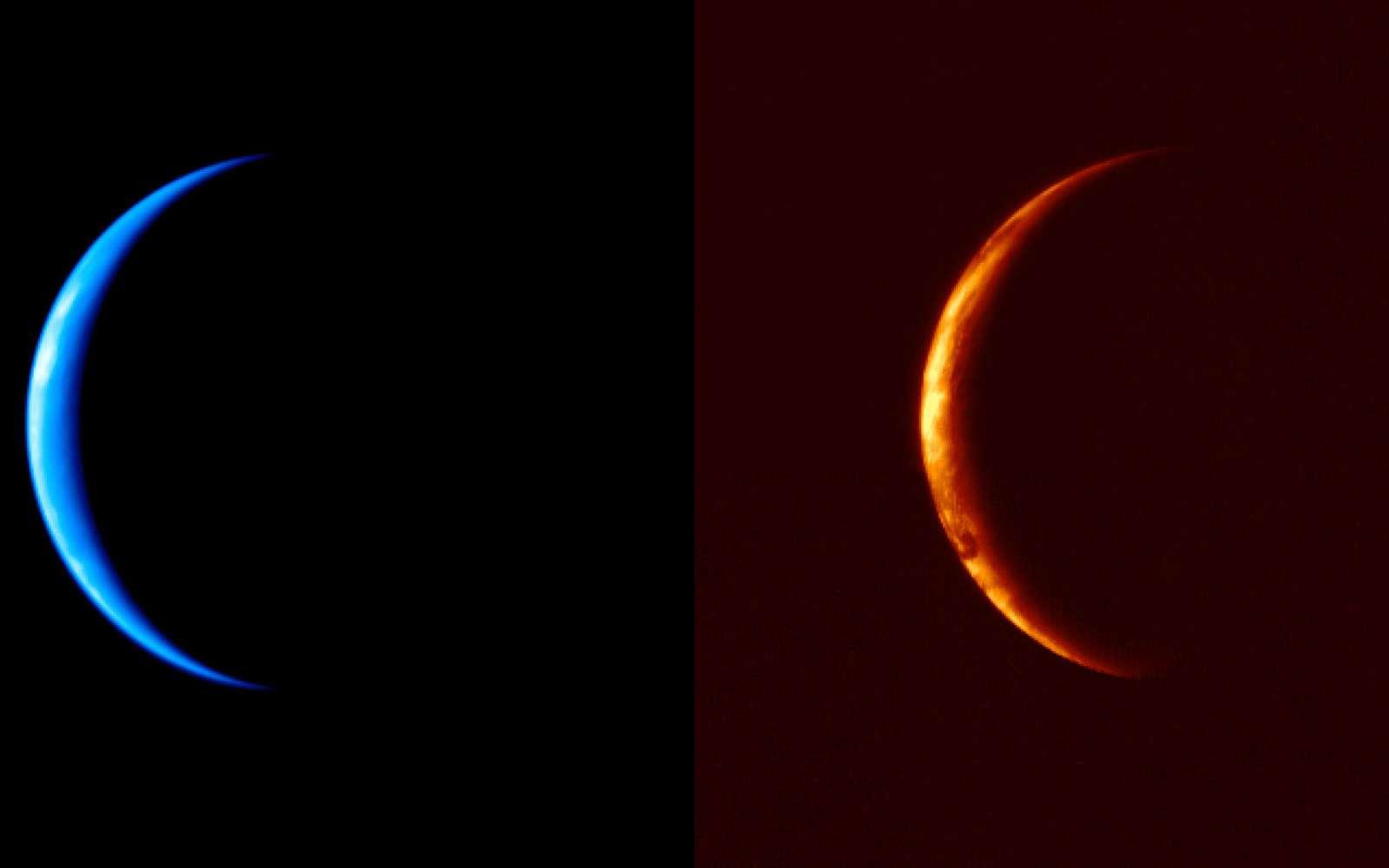 La planète Vénus vue par les instruments d'Akatsuki, dans l'ultraviolet (image de gauche) et le proche infrarouge. © Jaxa