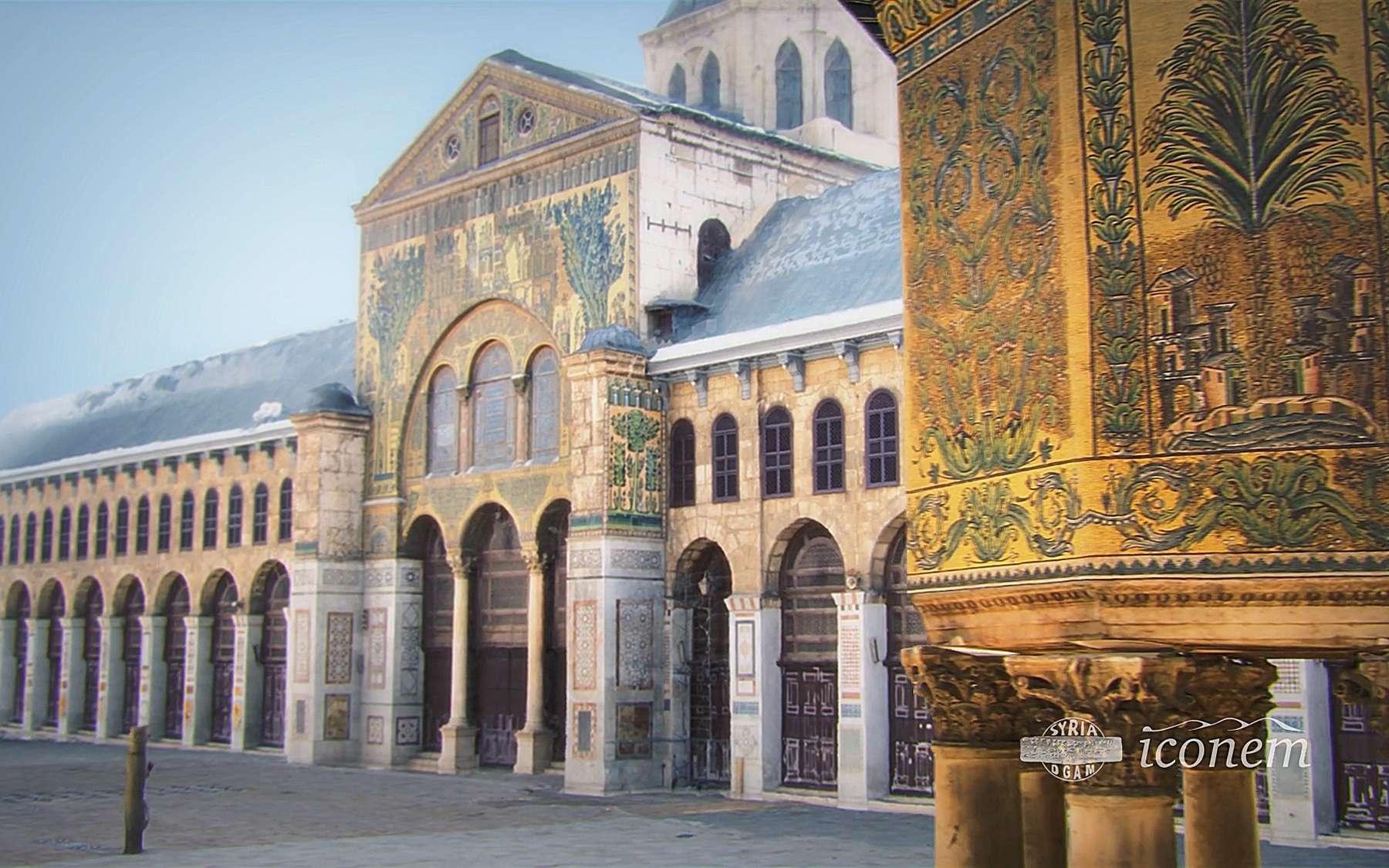 La mosquée des Omeyyades, à Damas, a été construite au VIIIe siècle. La numérisation permet la réalisation d'un modèle 3D utile aux historiens mais aussi aussi au public. © Iconem