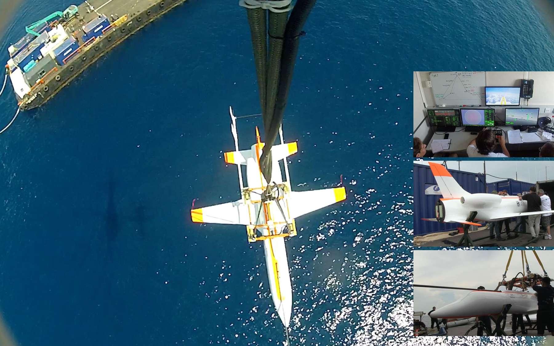 À 100 kilomètres au large de Singapour, la maquette à l'échelle 1/4 du Spaceplane, l'avion spatial d'Airbus Espace, est héliportée jusqu'à une altitude de 3.000 mètres d'où elle a été relâchée pour des essais de vol dynamique. © Airbus Espace