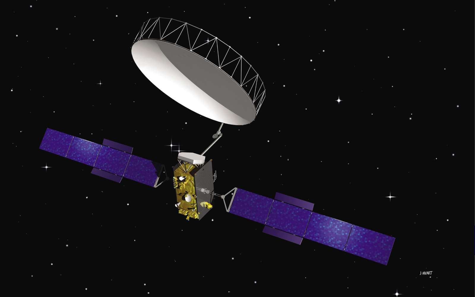 D'une envergure de 40 m avec ses panneaux solaires déployés, Alphasat utilise également une antenne de plus de 100 m2. Ce satellite de télécommunications doit fonctionner pendant au moins une quinzaine d'années. © J. Huart, TAS-Astrium-Esa