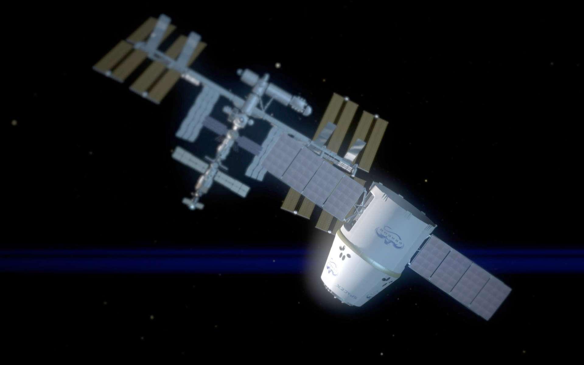 La capsule Dragon, qui transporte du fret, premier module privé à rejoindre la Station pour la ravitailler. © Nasa/SpaceX