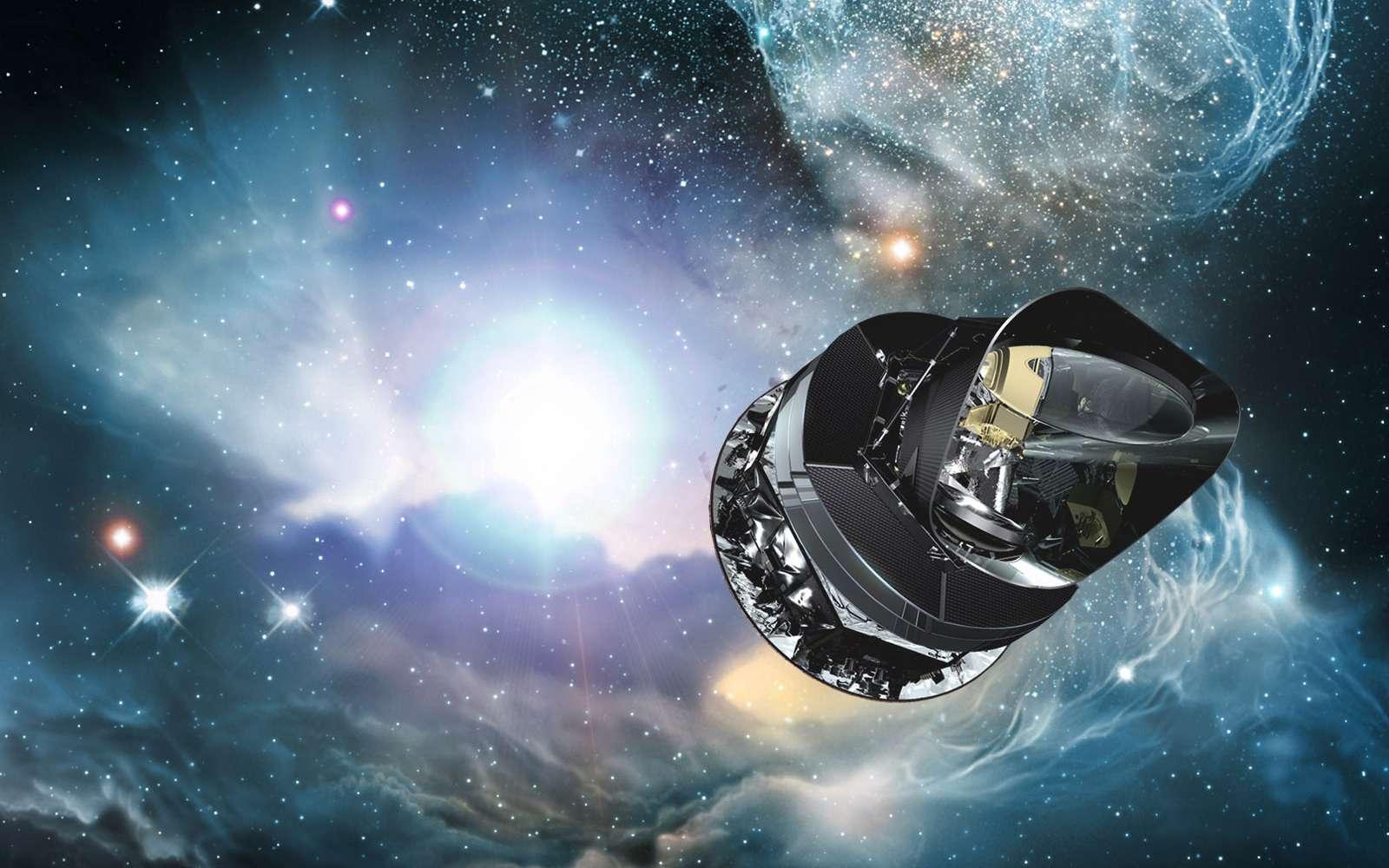 Une vue d'artiste du satellite Planck. Il ne sert pas qu'à étudier le rayonnement fossile mais donne des renseignements sur diverses questions d'astrophysique et de cosmologie. © Esa, ESO, STECF, Wolfram Freudling-Esa/AOES Medialab