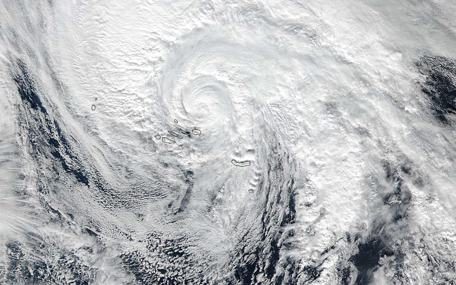 L'ouragan Alex, le premier à se former dans l'Atlantique nord en janvier depuis 1938, photographié le 15 janvier 2016 par le satellite Suomi-NPP. © Nasa, NOAA, Jeff Schmaltz