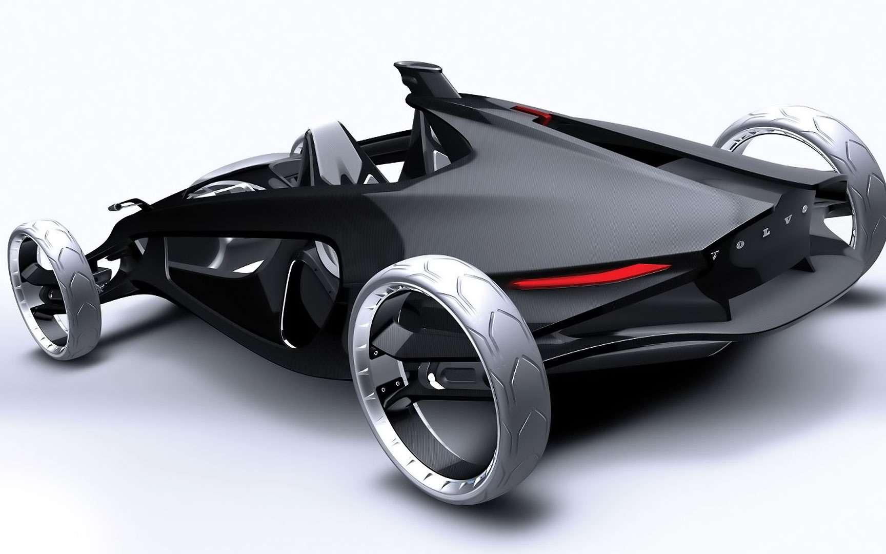 La Volvo Air Motion. La Volvo Air Motion se veut plus légère qu'une monoplace de Formule 1. Elle a aussi recourt à la fibre de carbone, et se dote d'un moteur à air comprimé. © Volvo