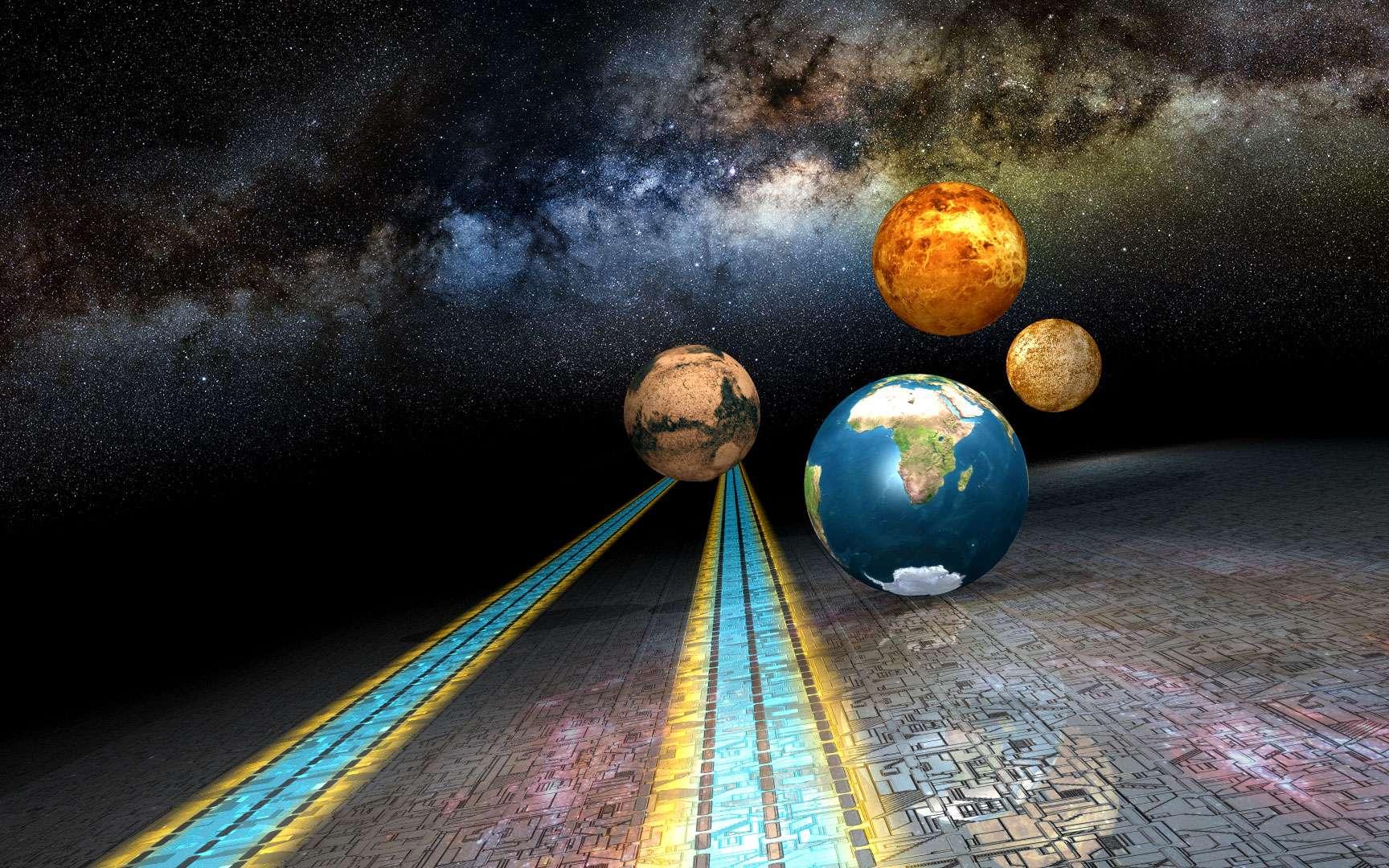 Saturne et Jupiter. Ces deux clichés sont issus respectivement de compositages de clichés pris à la ToUcam Pro au foyer d'un télescope Clavius muni de 2 barlows X2 en série (686 clichés pour Jupiter et 1528 images pour Saturne). Pour ces deux images la turbulence était quasi inexistante depuis mon balcon dans la ville de Grasse alors que les planètes se situaient entre 45 et 49° au-dessus de l'horizon. Saturne a été prise le 27 janvier 2003 et Jupiter le 17 février 2003 ©Copyright - Didier Favre. Tous droits réservés. Alcyone Astronomie - http://favre.didier.free.fr/index.shtml