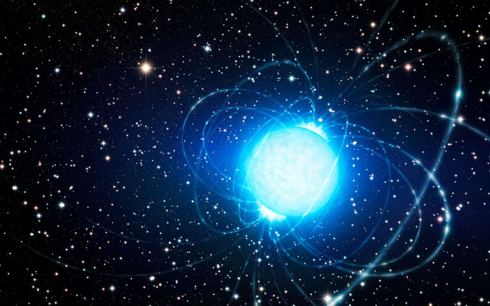 Une vue d'artiste d'un pulsar avec ses lignes de champ magnétique. © ESO, L. Calçada