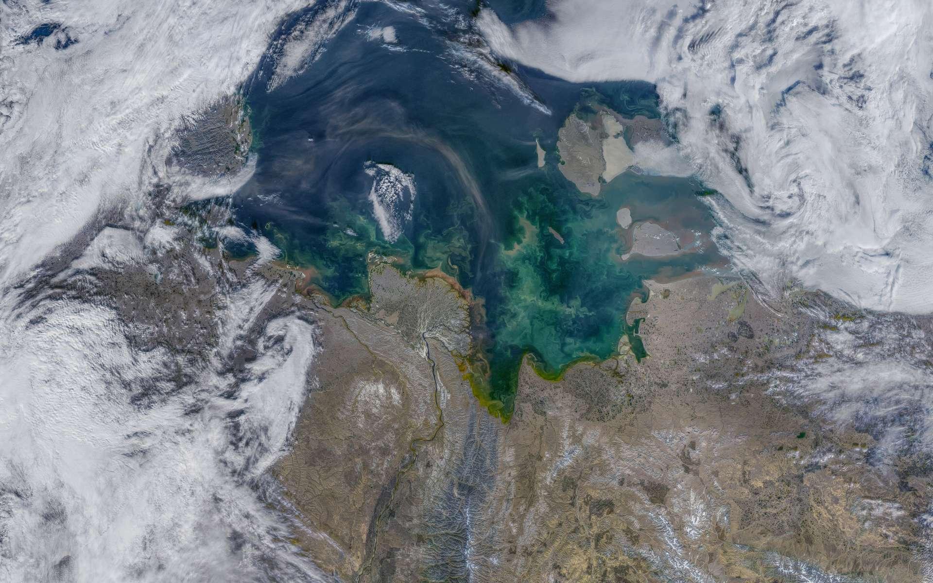 Une vue satellite de la mer de Laptev, en Sibérie. Cette région est connue pour être l'une des principales régions où se forme la glace de mer. © Nasa Earth Observatory