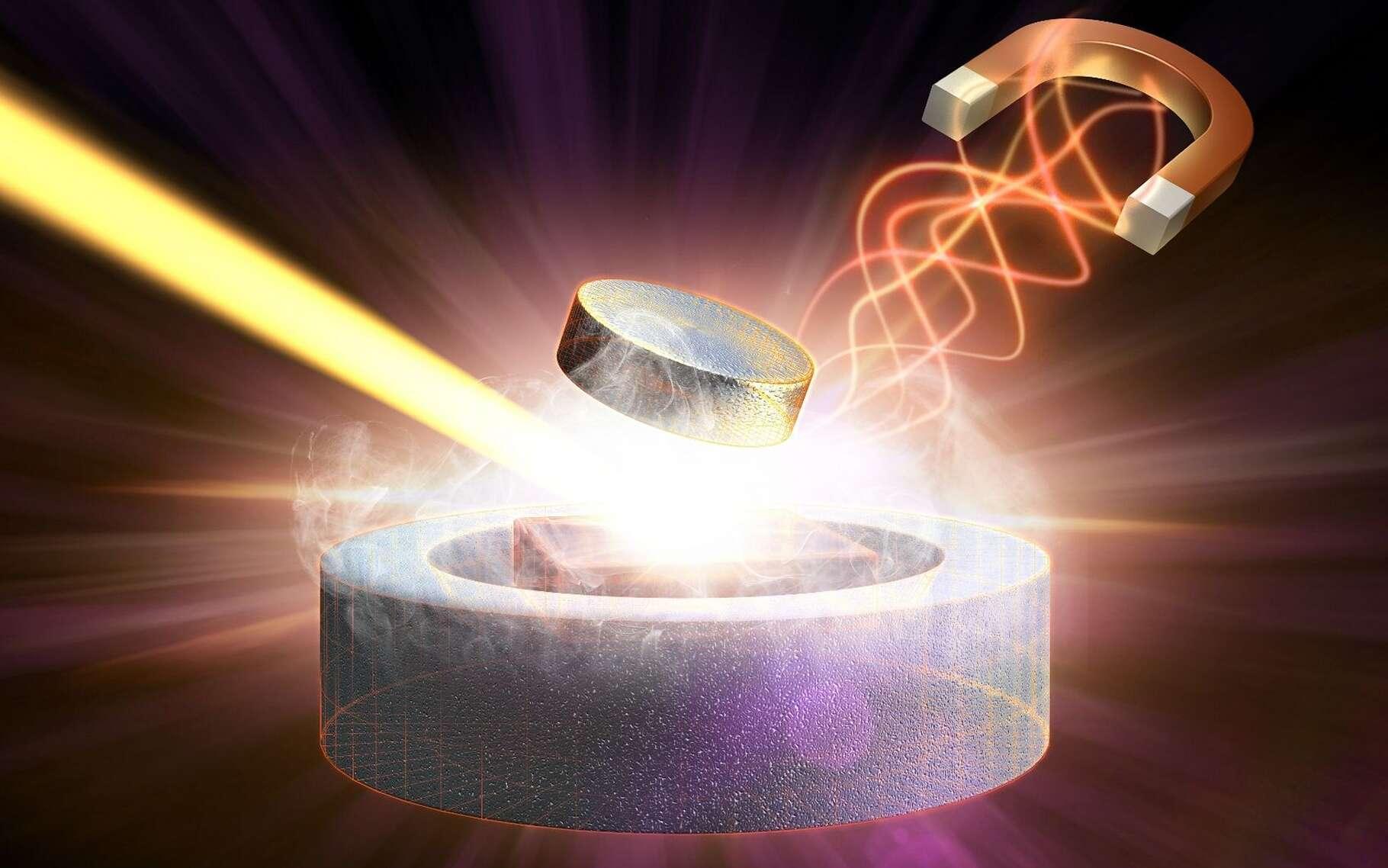 Une vision d'artiste d'une impulsion laser à rayons X frappant une pièce en cuprate soumise à un champ magnétique. Le sujet a été traité par une conférence sur la supraconductivité de Julien Bobroff, dans le cadre du cours en ligne QuidQuam? Eurêka! © SLAC National Accelerator Laboratory
