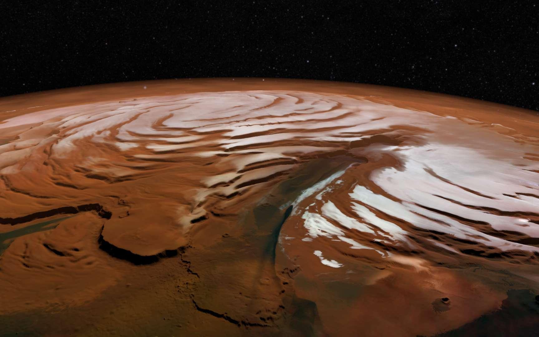 Vue en perspective de la calotte glaciaire qui recouvre actuellement le pôle Nord de Mars. Photo prise par la sonde Mars Express (ESA). © ESA, DLR, FU Berlin ; Nasa MGS Mola Science Team