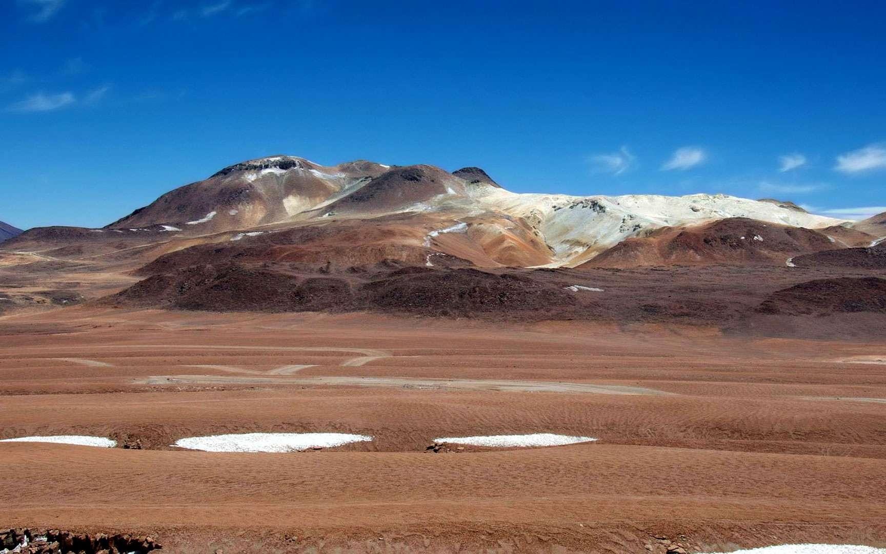 L'Atacama, un désert chilien aux différentes teintes. Le désert d'Atacama, aux confins de l'Argentine, de la Bolivie et du Chili, est l'un des plus extraordinaires au monde. Aride, on peut y voir des paysages martiens avec, au milieu, une étendue d'eau et de sel qui fait le bonheur de la rare faune qui subsiste. © Rémy Decourt, Futura-Sciences
