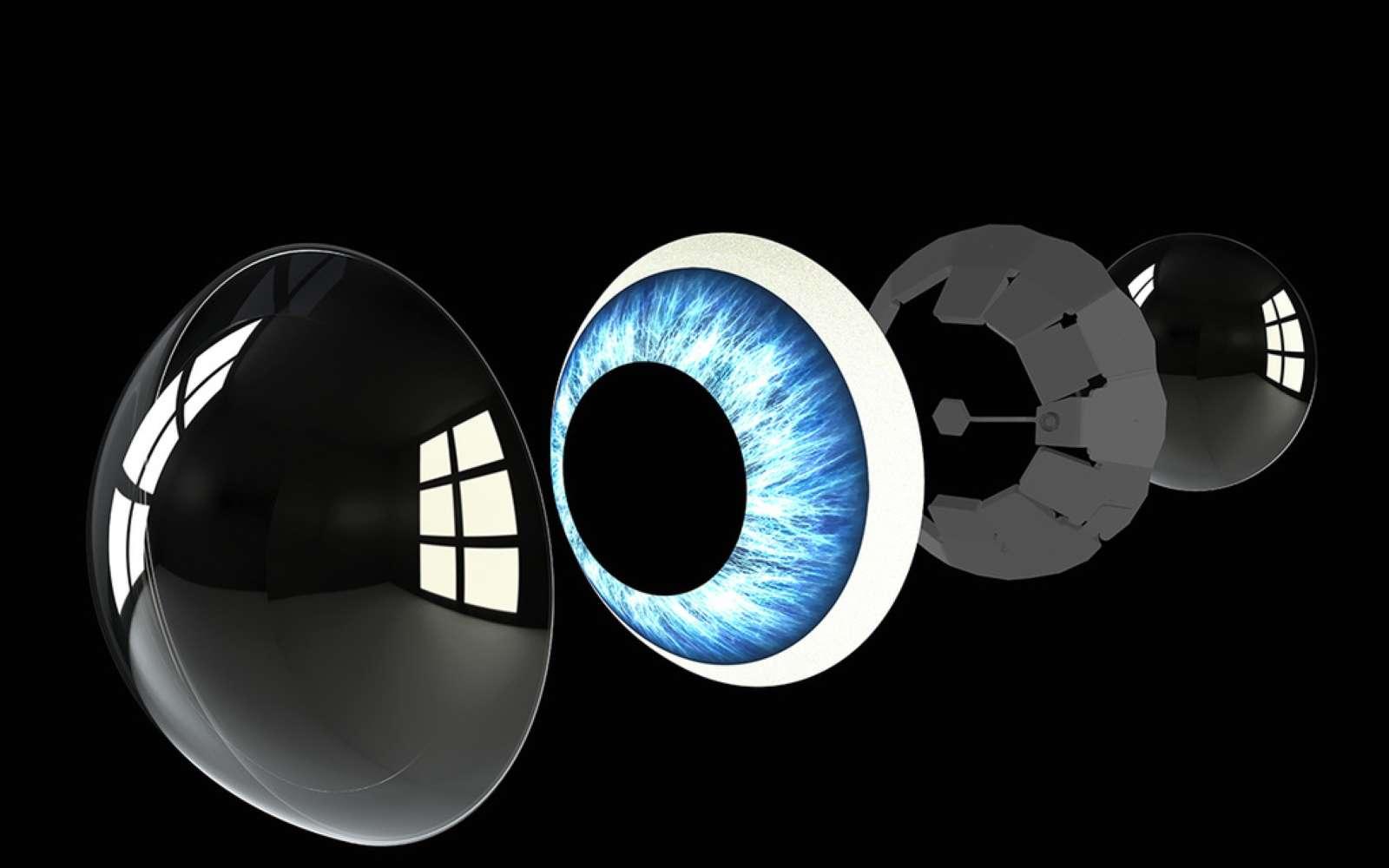 La lentille de contact permet de suivre le regard et d'afficher les informations en réalité augmentée. © Mojo Vision