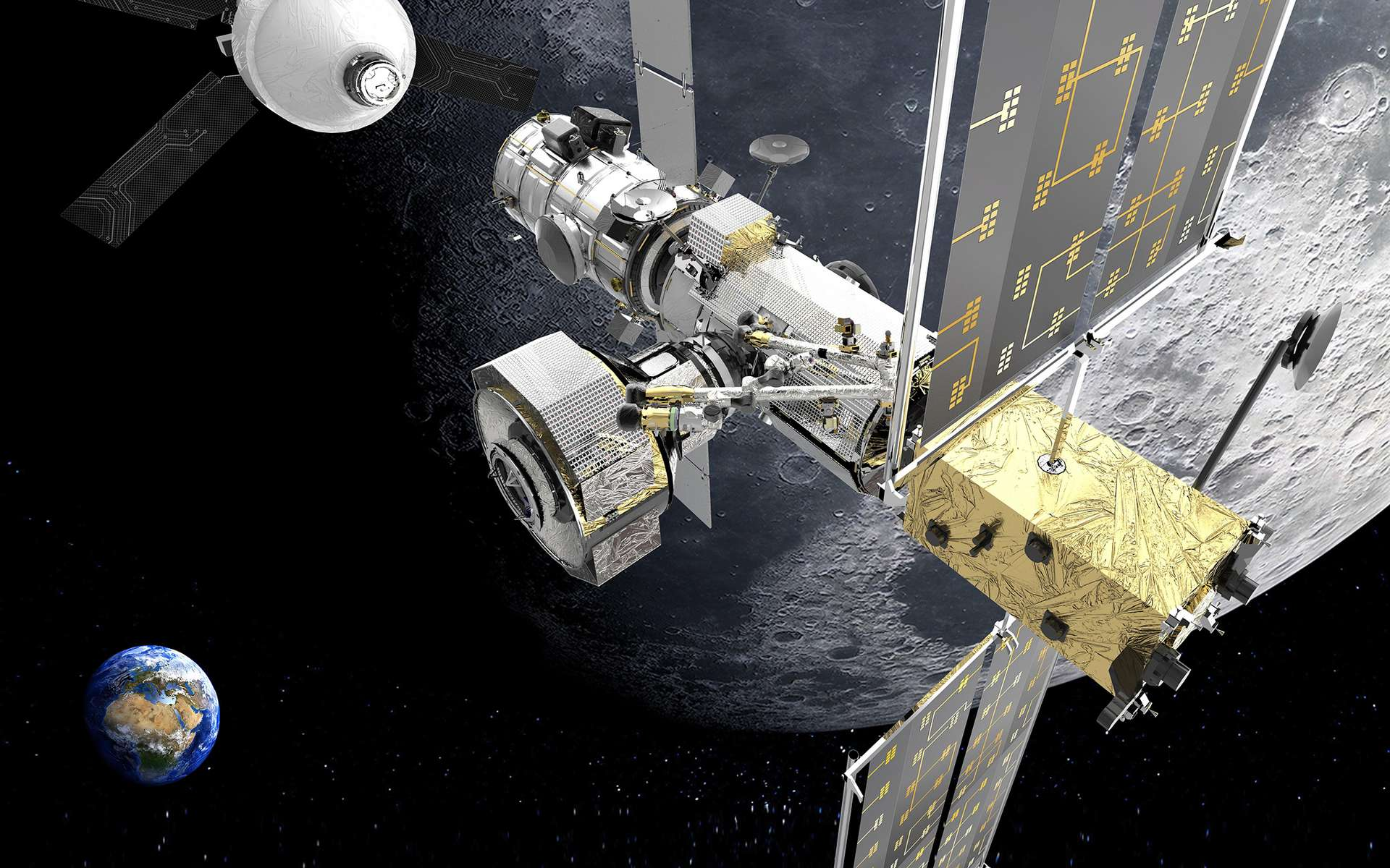Vue d'artiste du Gateway, la petite station spatiale internationale en orbite cis-lunaire. © Thales Alenia Space