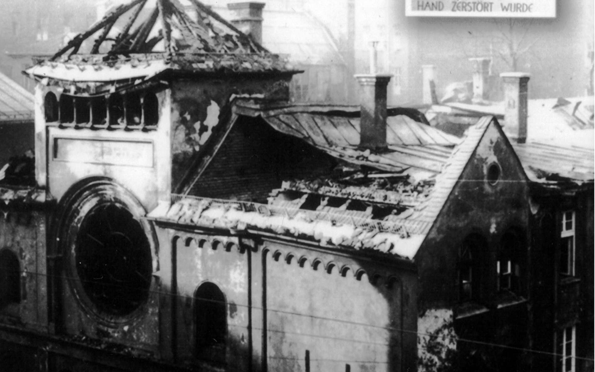 Une synagogue en ruines après la nuit de Cristal. Ce pogrom marquera la radicalisation des mesures antisémites en Allemagne. © Wikimedia Commons, cc by 3.0