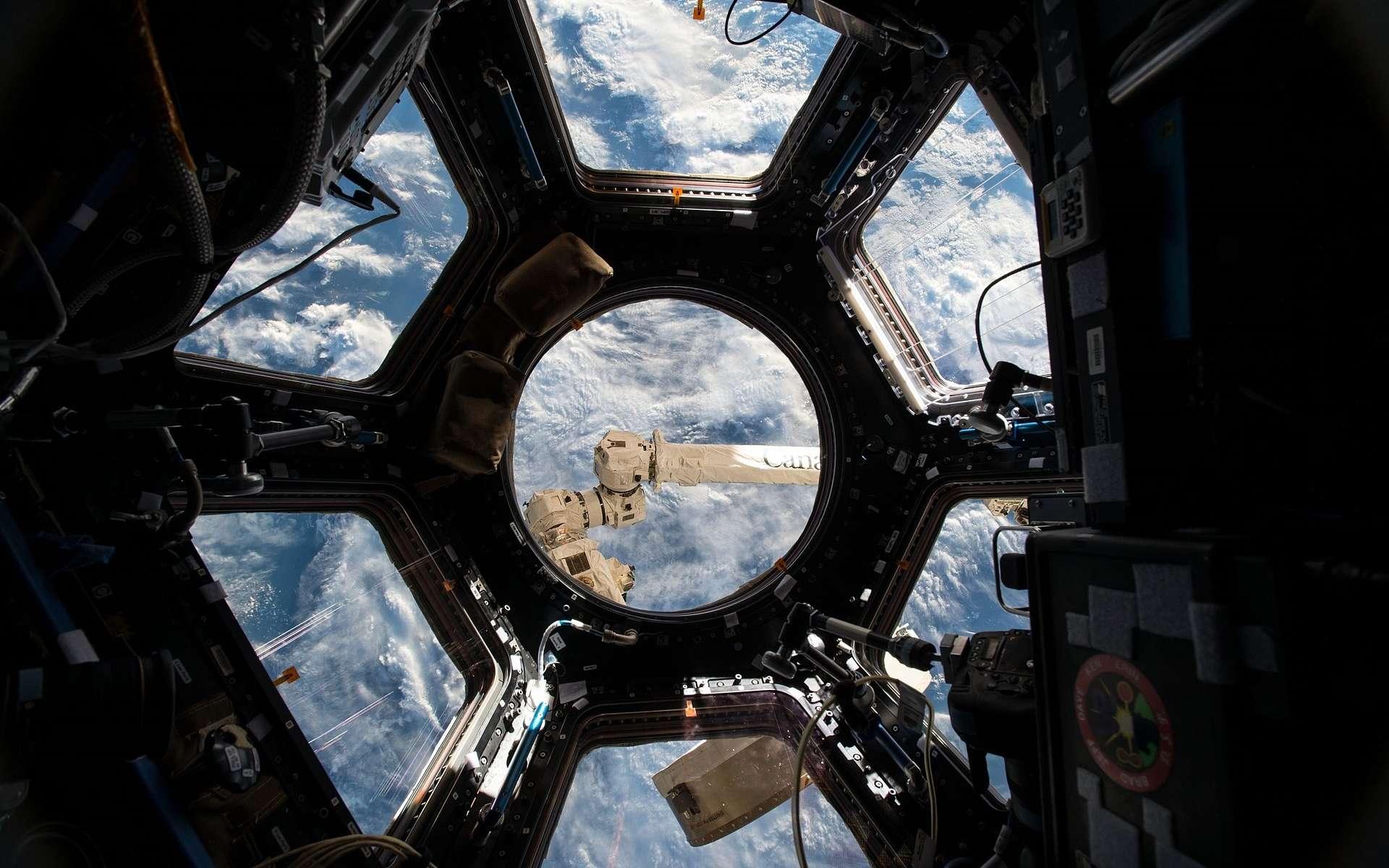 La coupole d'observation de la Station spatiale internationale (ISS) est un endroit très visité par les astronautes. C'est également un nid à microbes. © DP