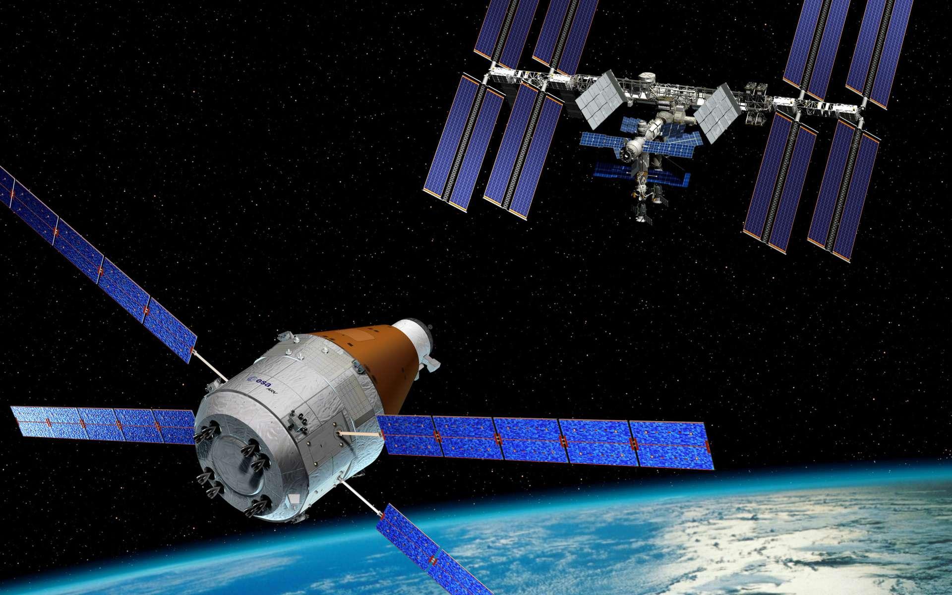 Cette vue d'artiste montre une des évolutions possibles de l'ATV qui pourrait être dôtée d'une capsule récupérable. © Esa/D. Ducros