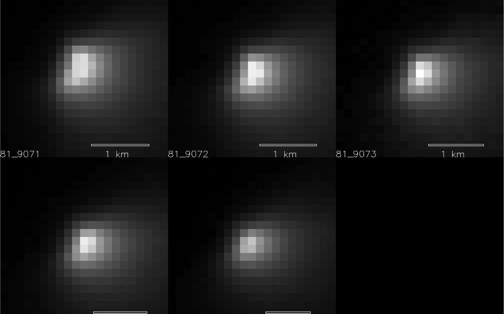 Cinq clichés pris par la caméra HiRise de MRO, le 19 octobre 2014 alors que C/2013 A1 Siding Spring passait à moins de 150.000 km de la surface de Mars. © Nasa, JPL-Caltech, University of Arizona